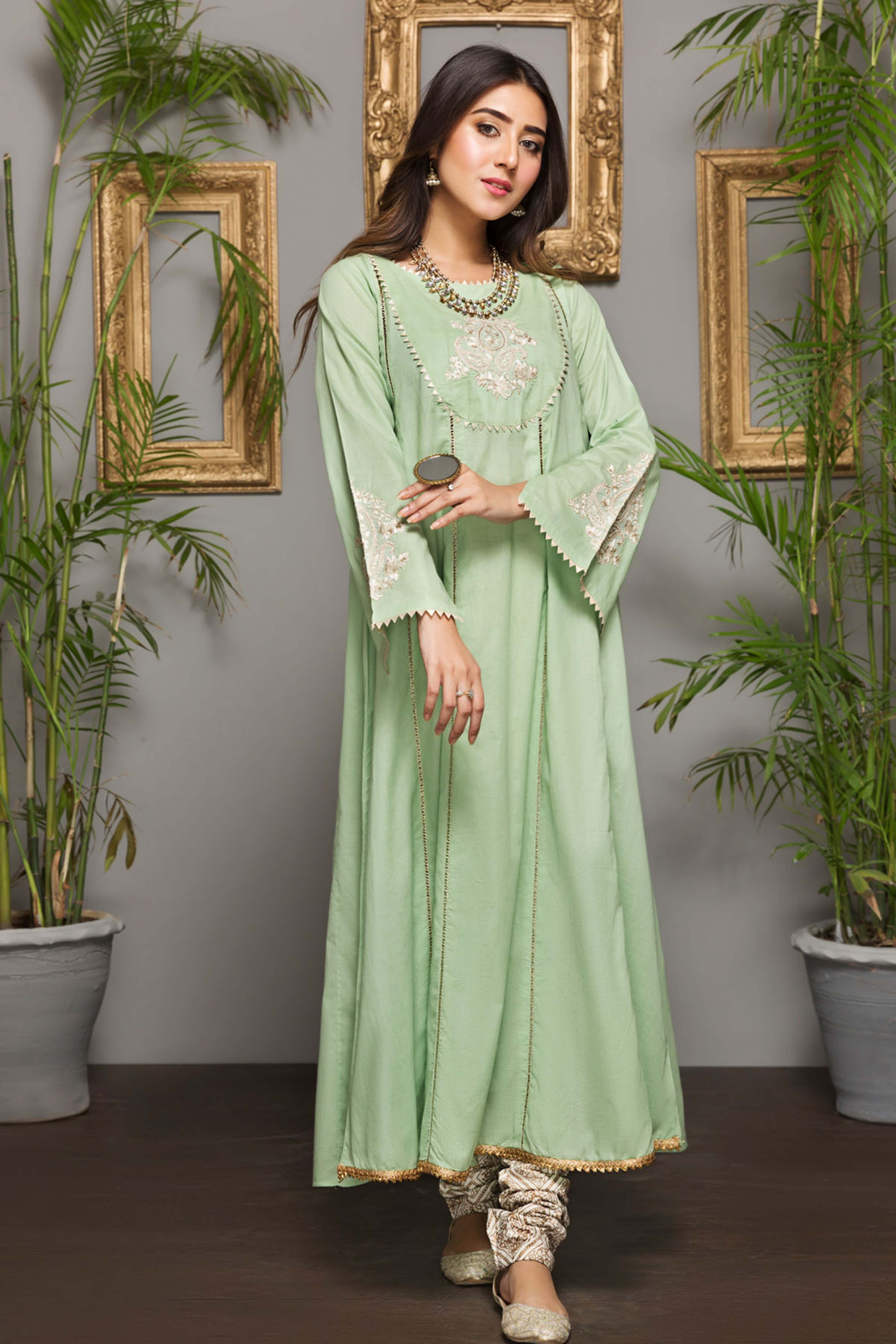 GREEN ORCHID (EMBROIDERED FROCK )