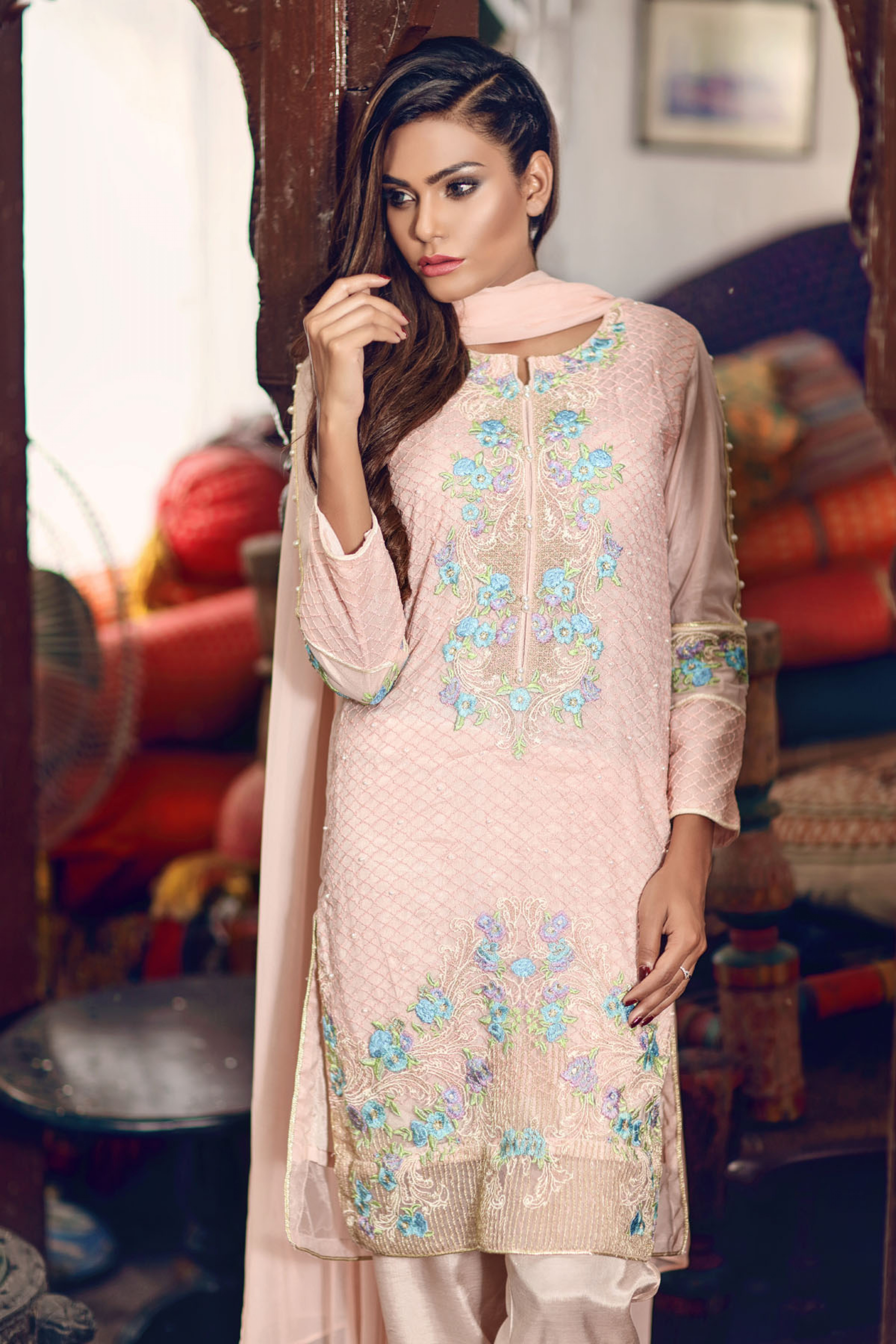 Embroidered Shirt Slip Trouser And Dupatta
