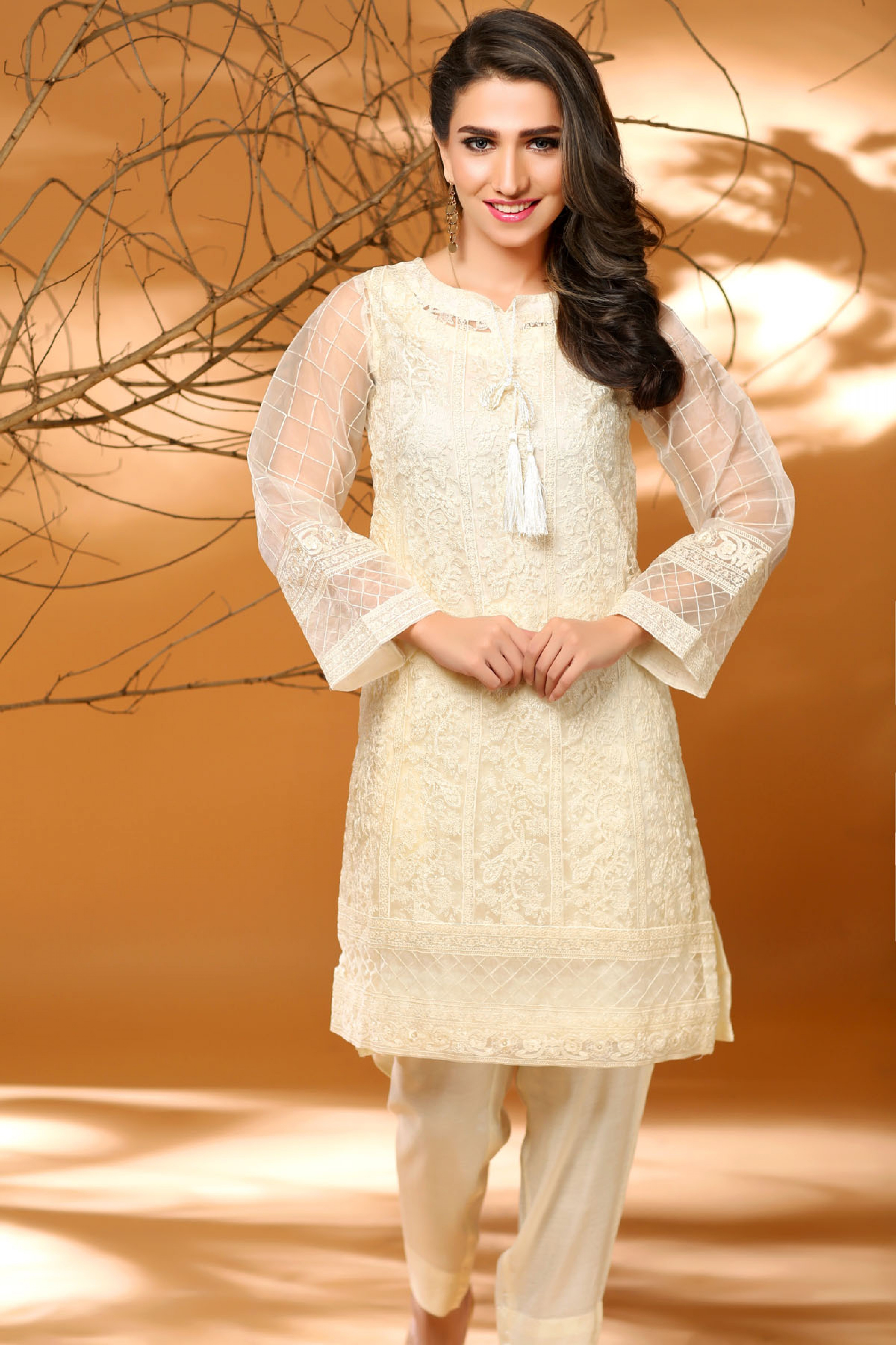 Embroidered Shirt With Slip Trouser And Dupatta