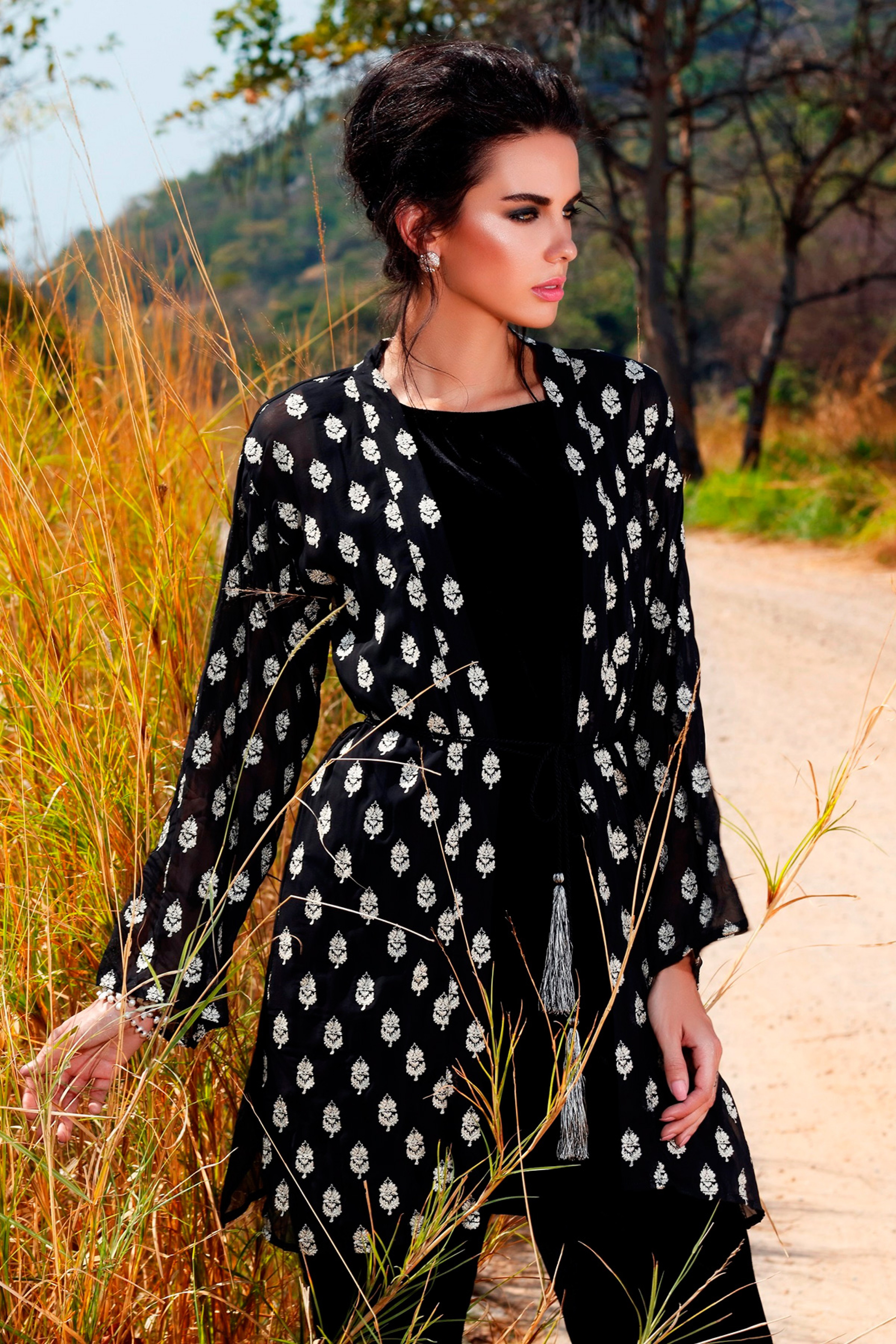 Embroidered chiffon  jacket with slip & trouser
