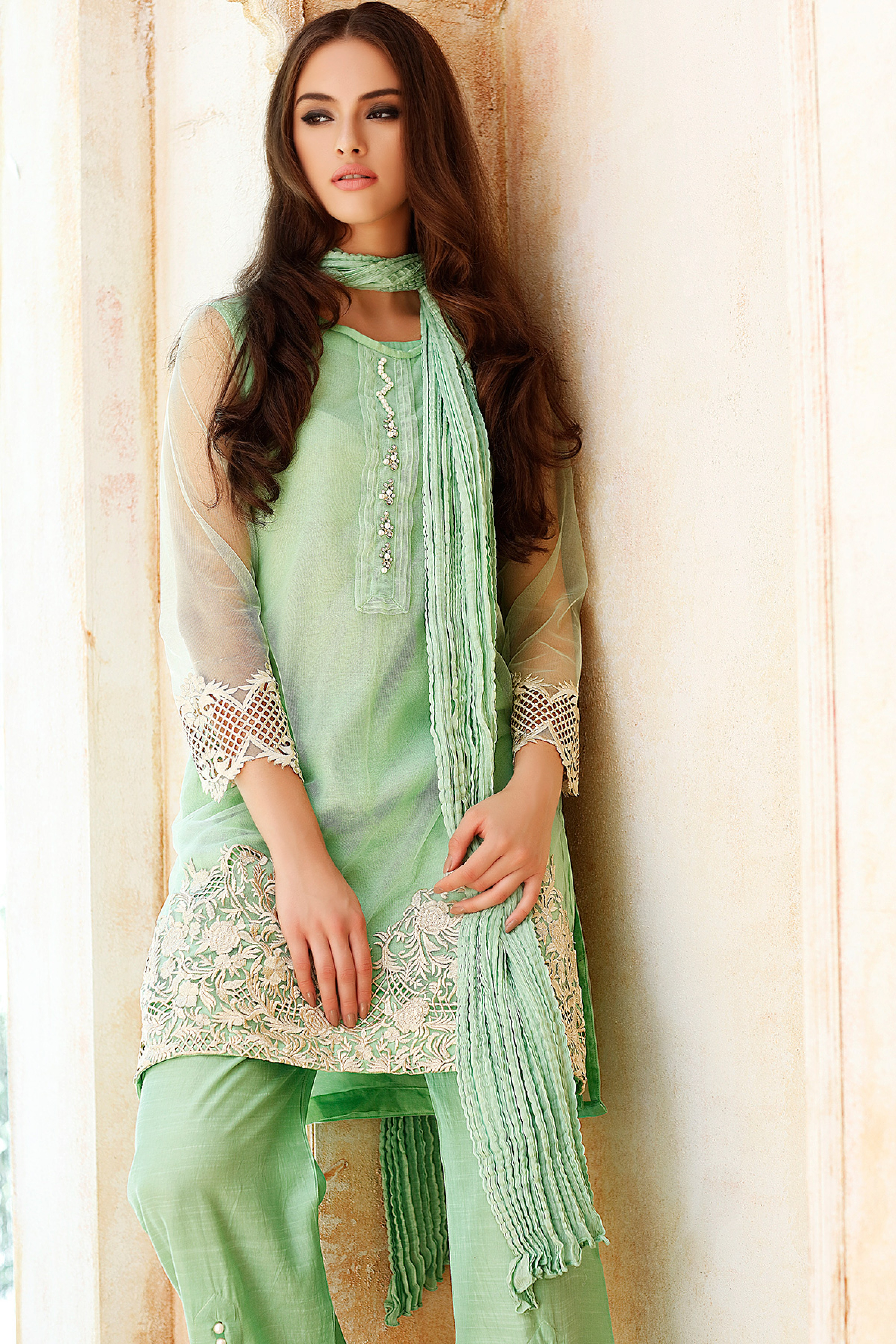 Embroidered Net Shirt With Slip Trouser