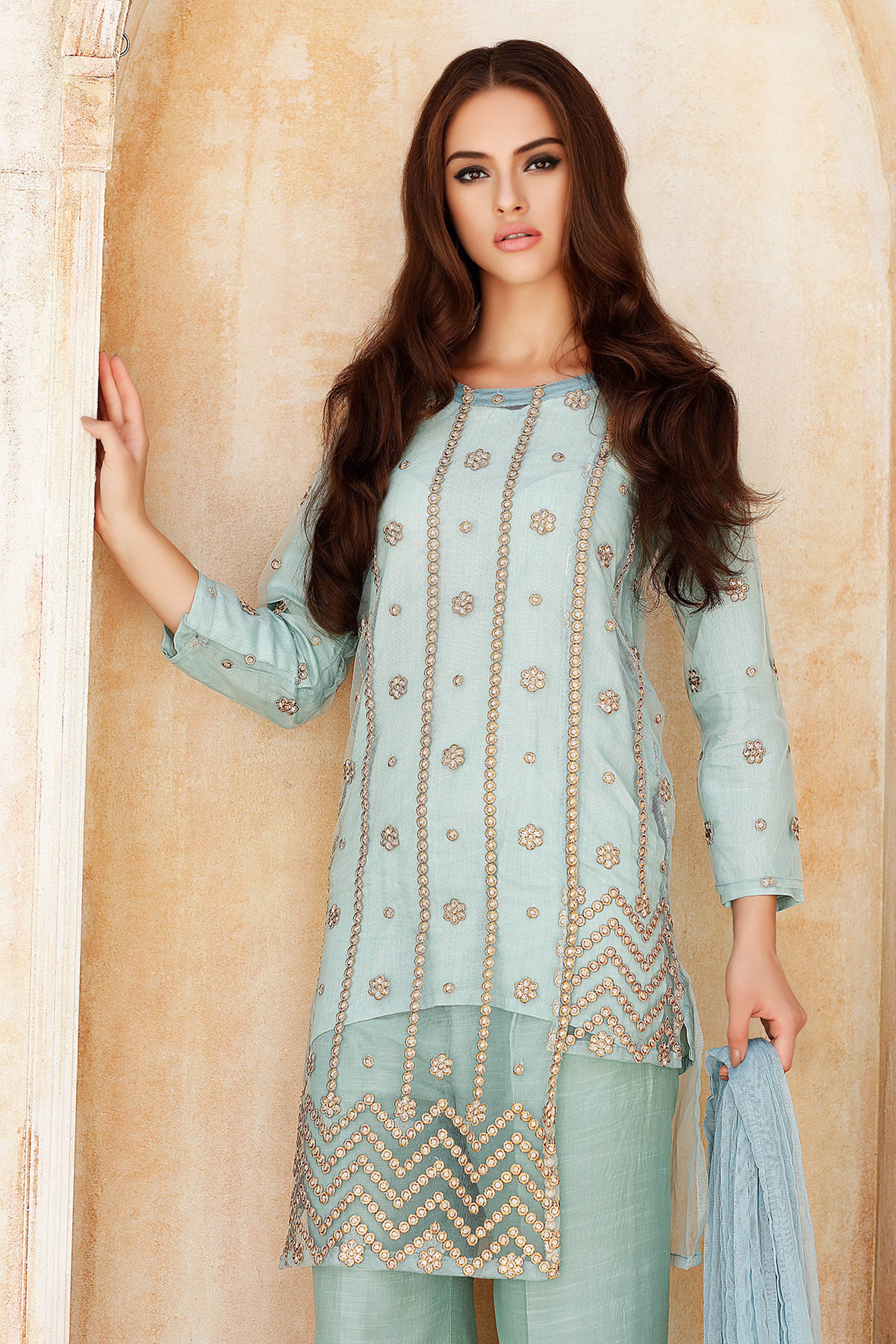 Embroidered Shirt With Slip,Dupatta & Trouser