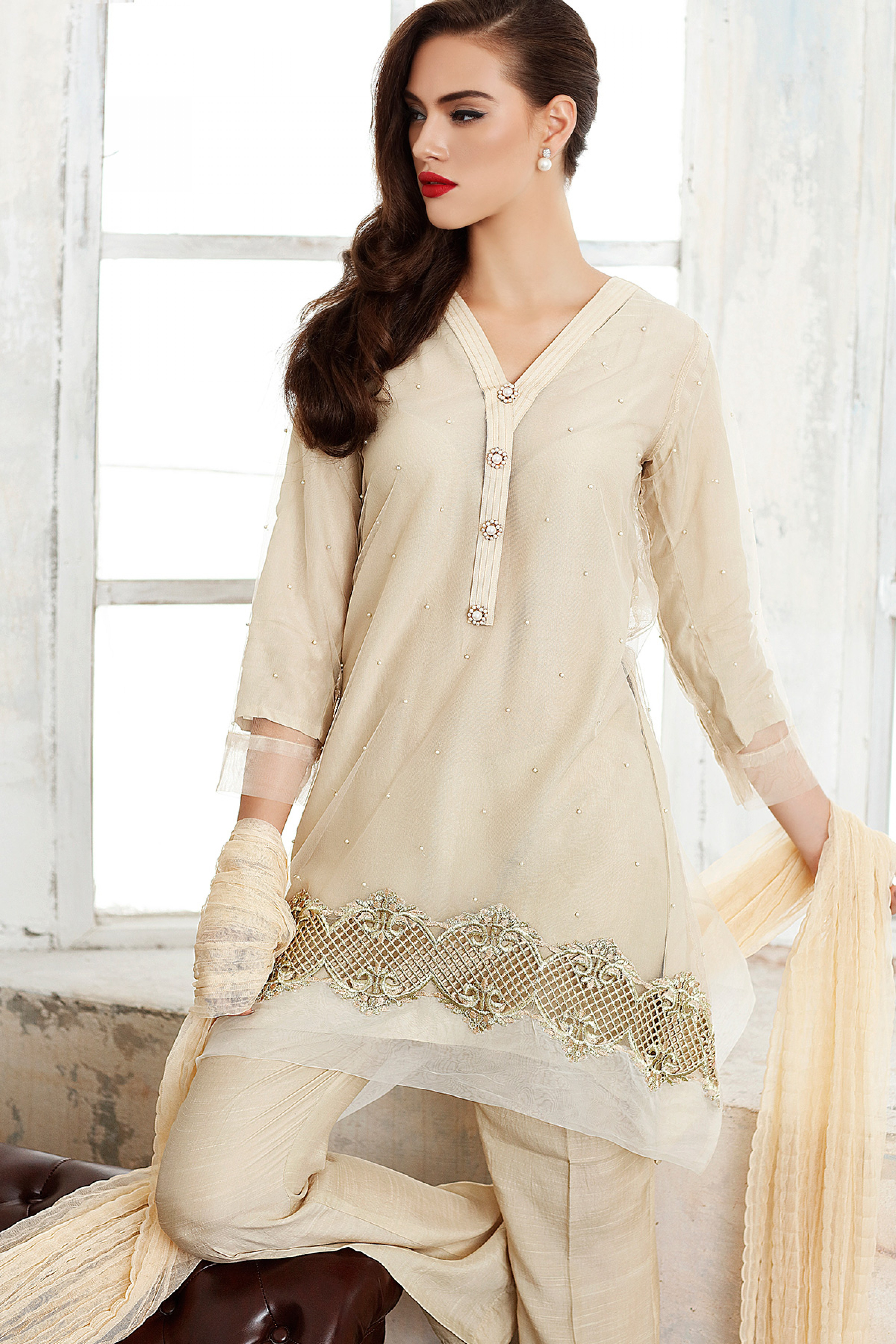 Embroidered Shirt With Inner, Supatta & Trouser