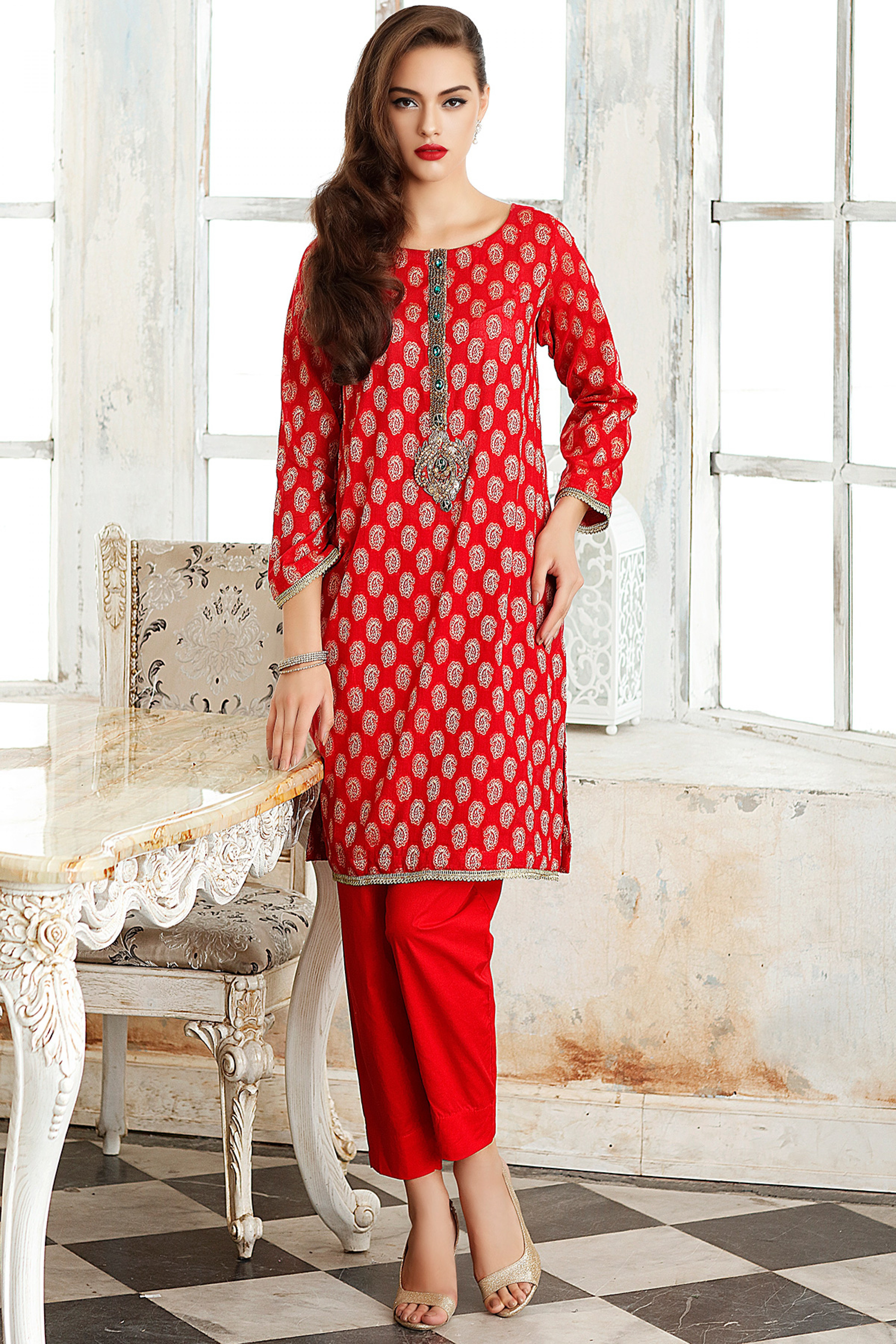 Embroidered Shirt With Inner, Dupatta & Trouser