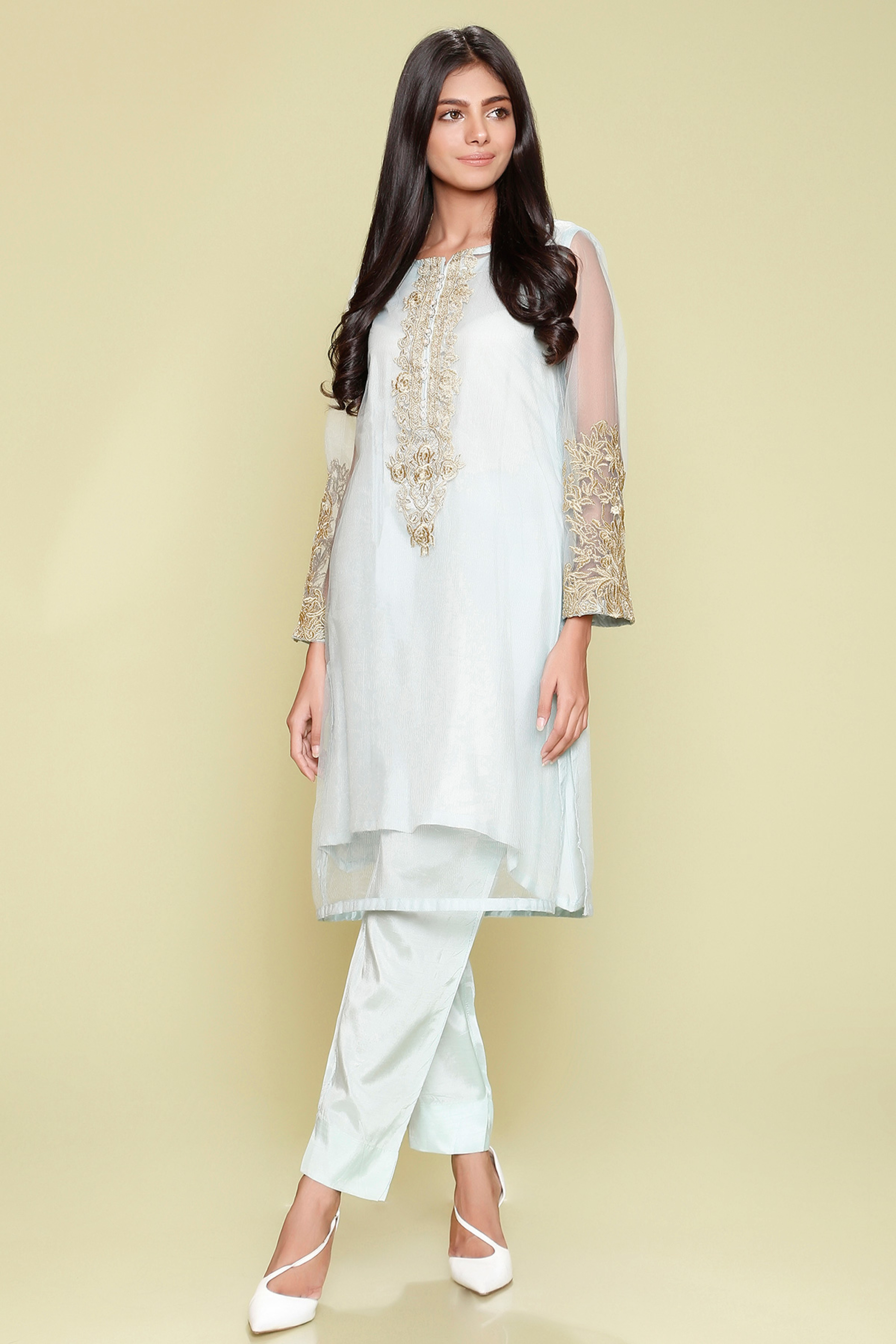 Embroidered Shirt With Inner & Trouser