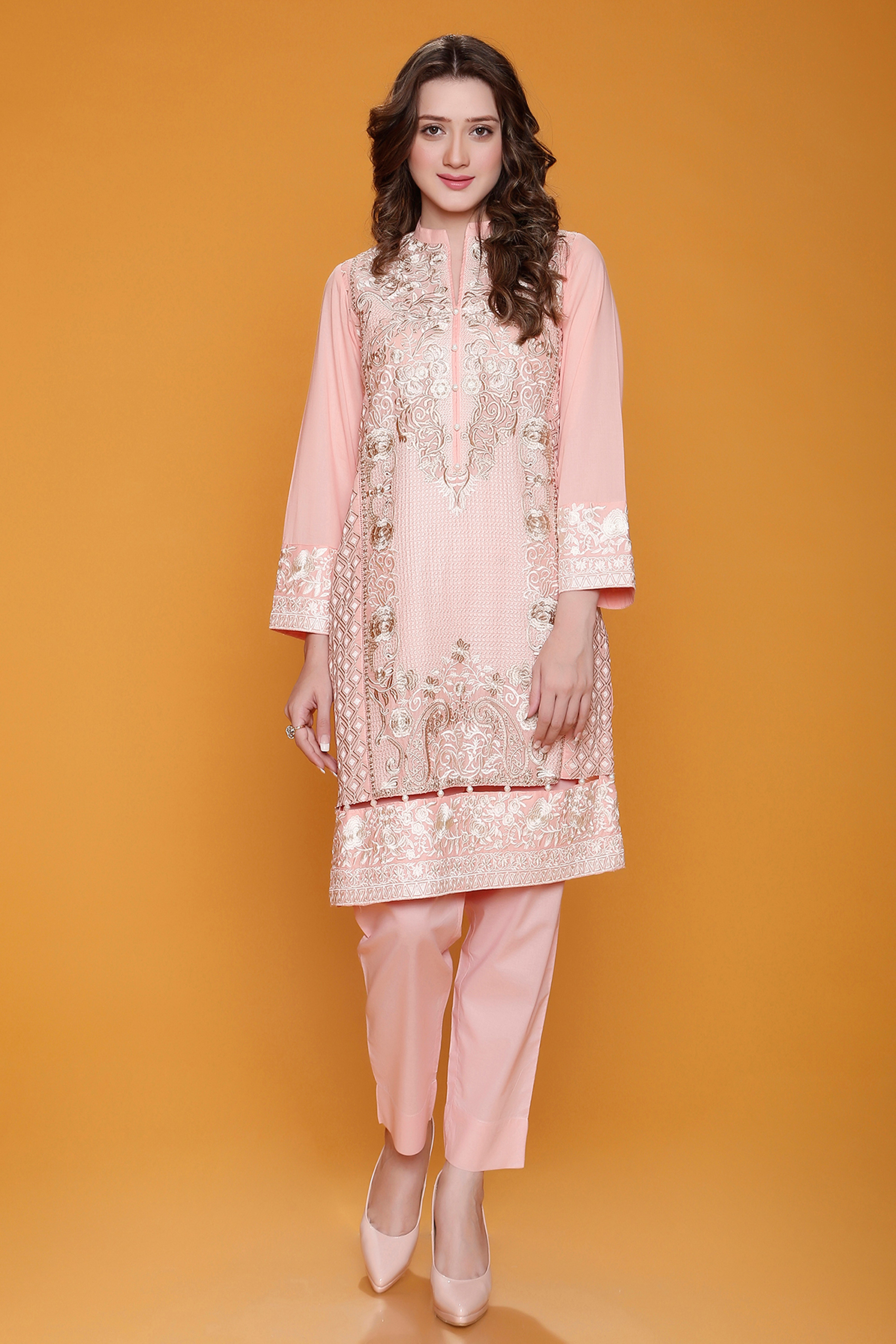 Embroidered Shirt With Net  Dupatta