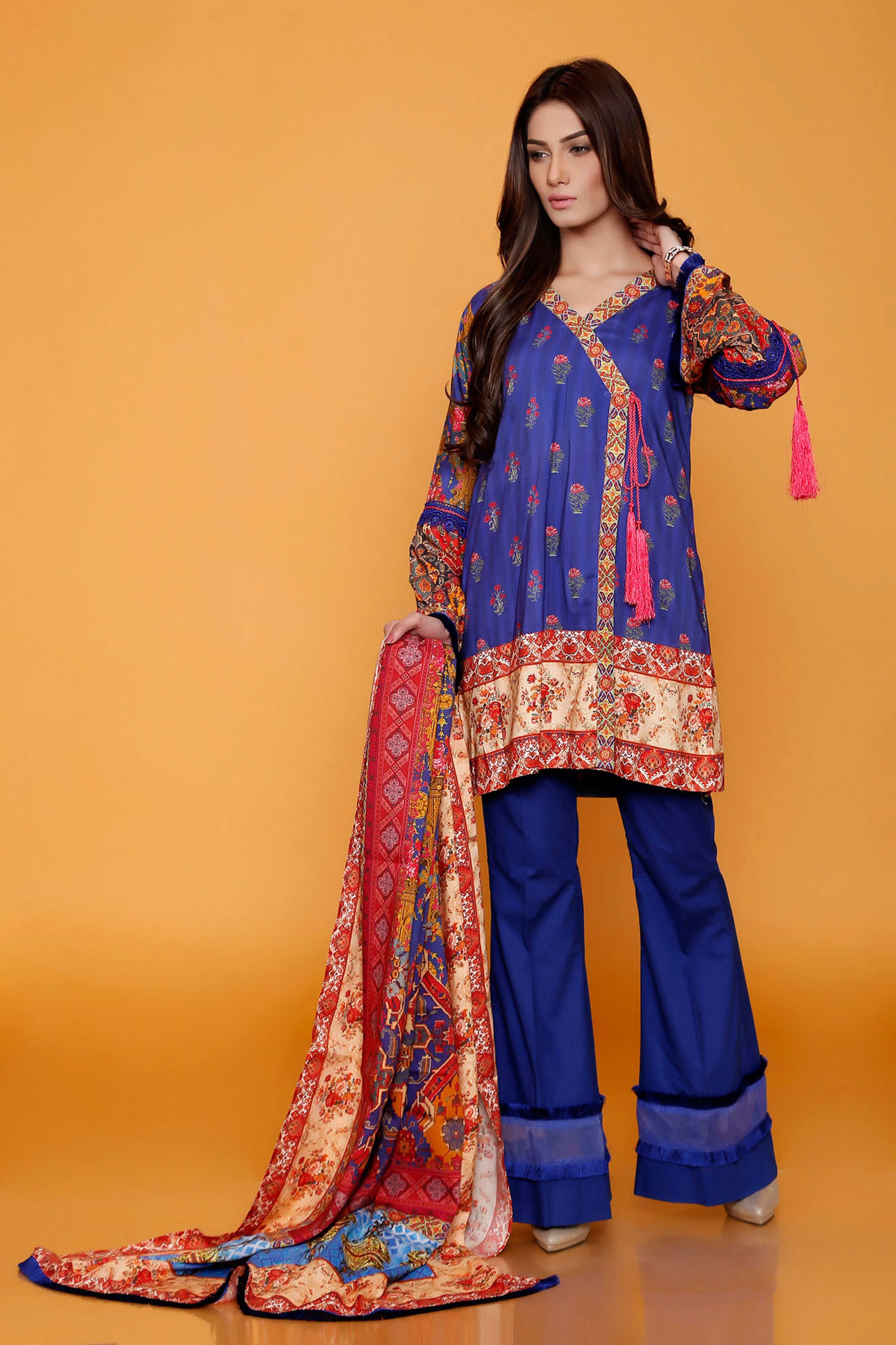 Digital Printed Shirt & Dupatta (Un Stitch)