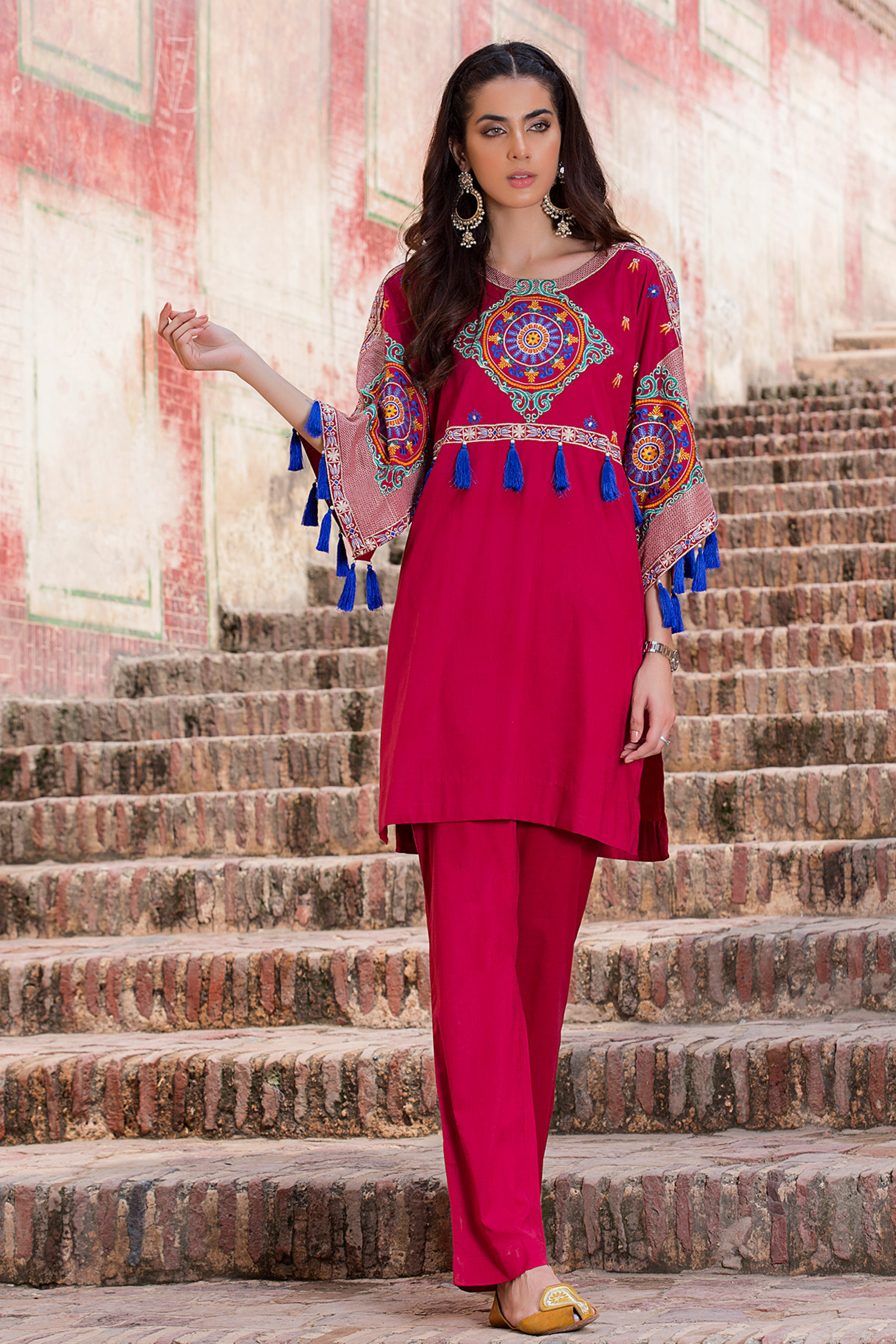 Embroidered Shirt With Trouser