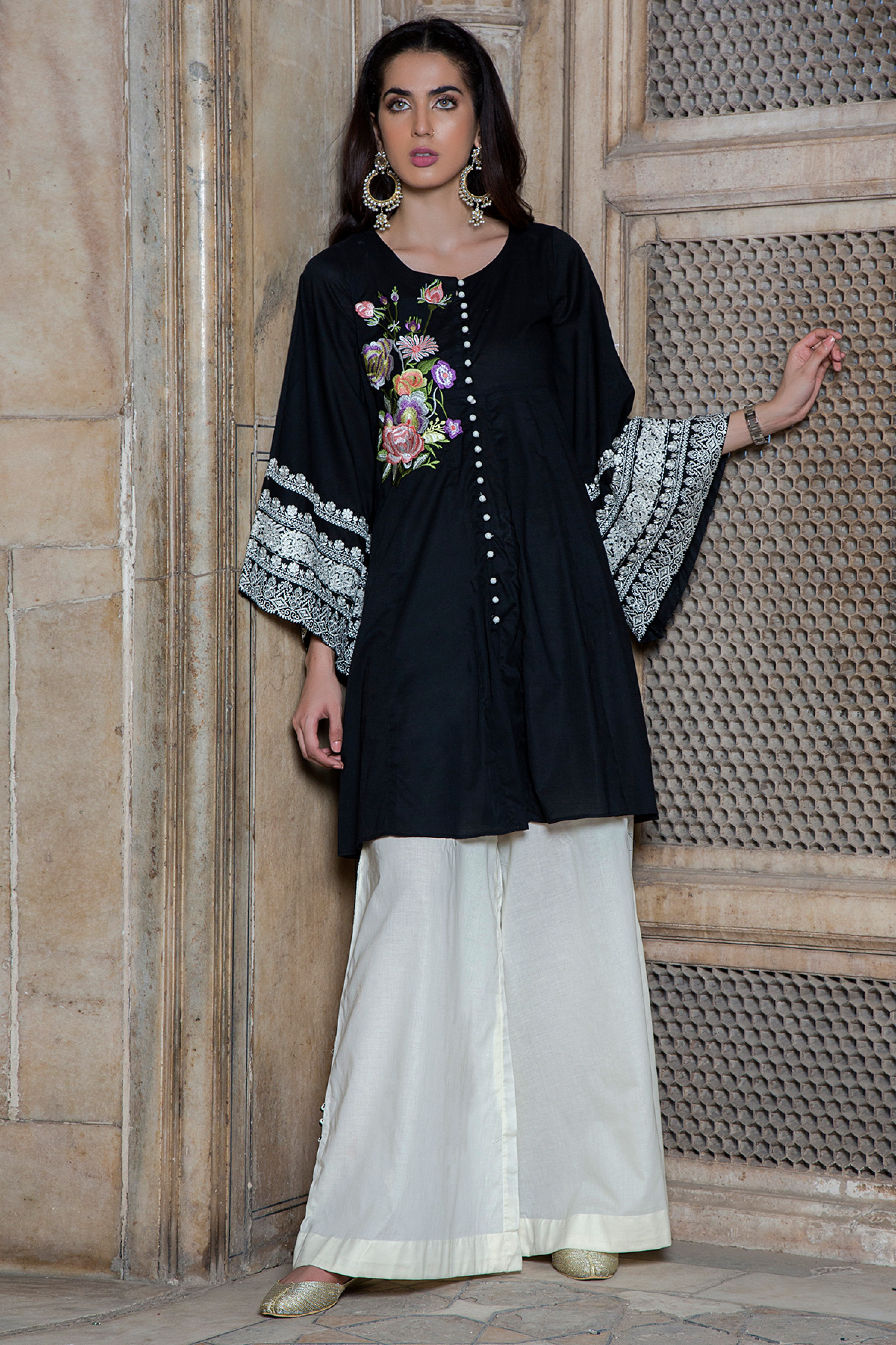 Embroidered Shirt With Plazo Trouser