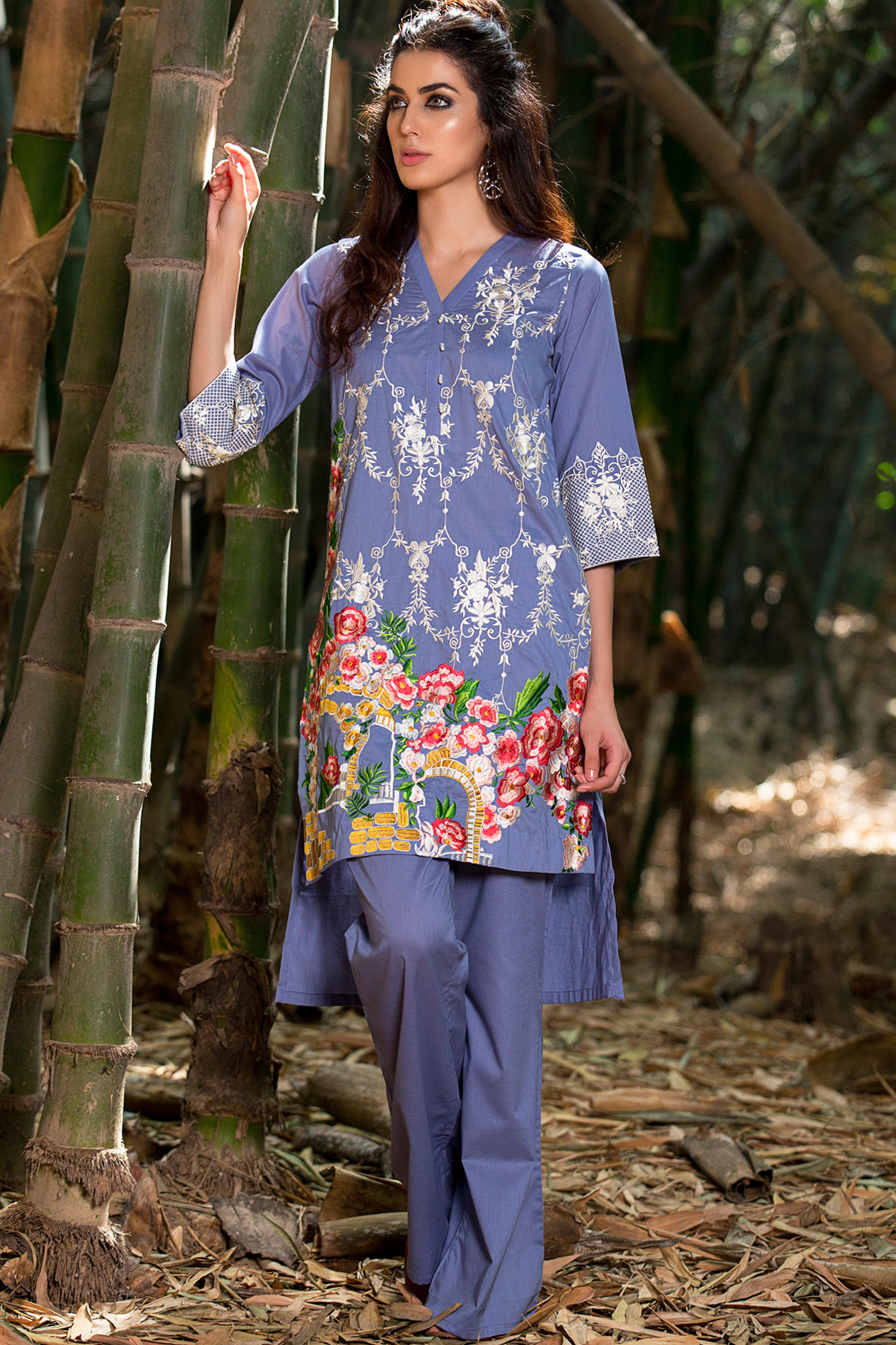 Embroidered Cambric Shirt With Trouser