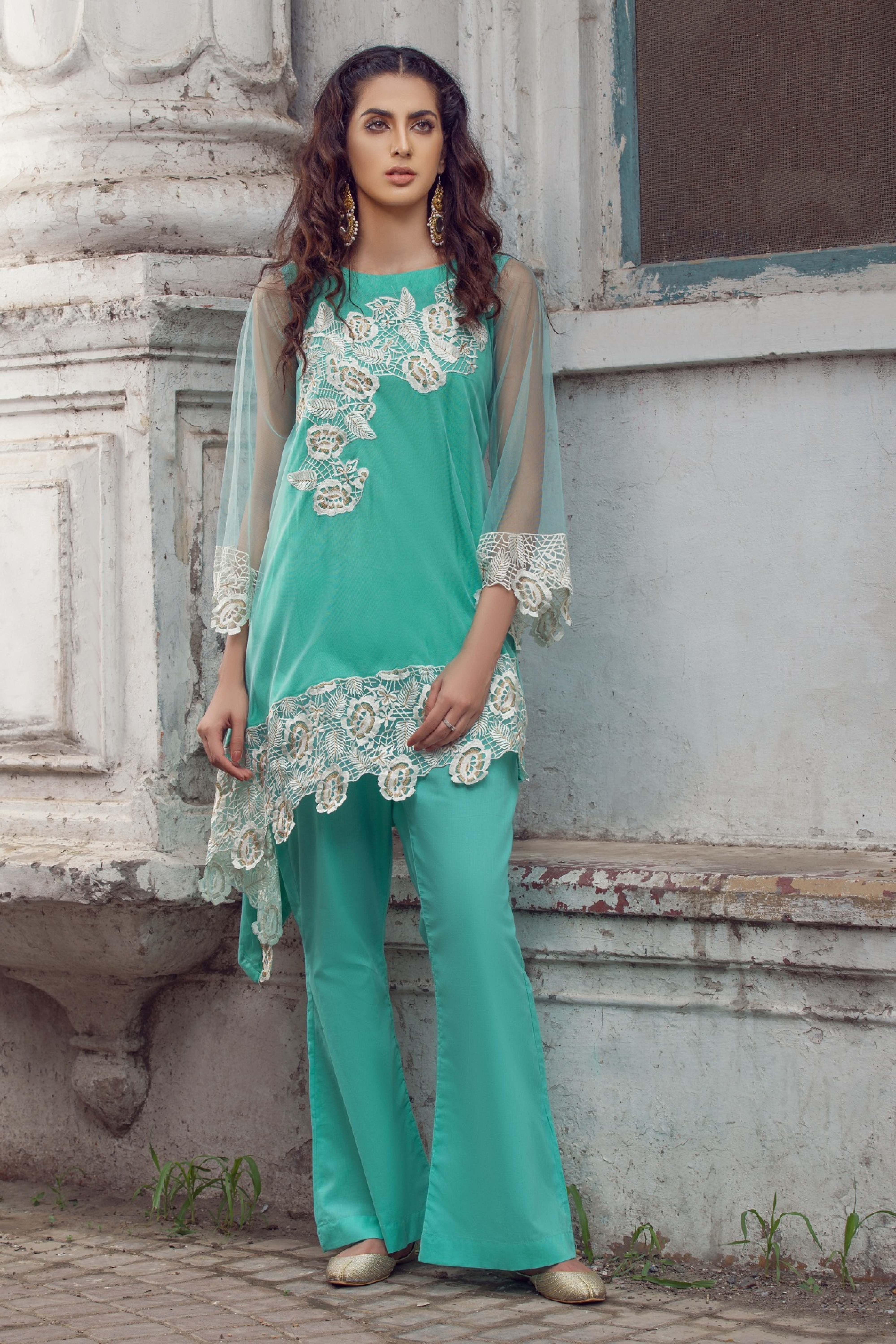 Embroidered Kurta With Inner & Boot Cut Trouser