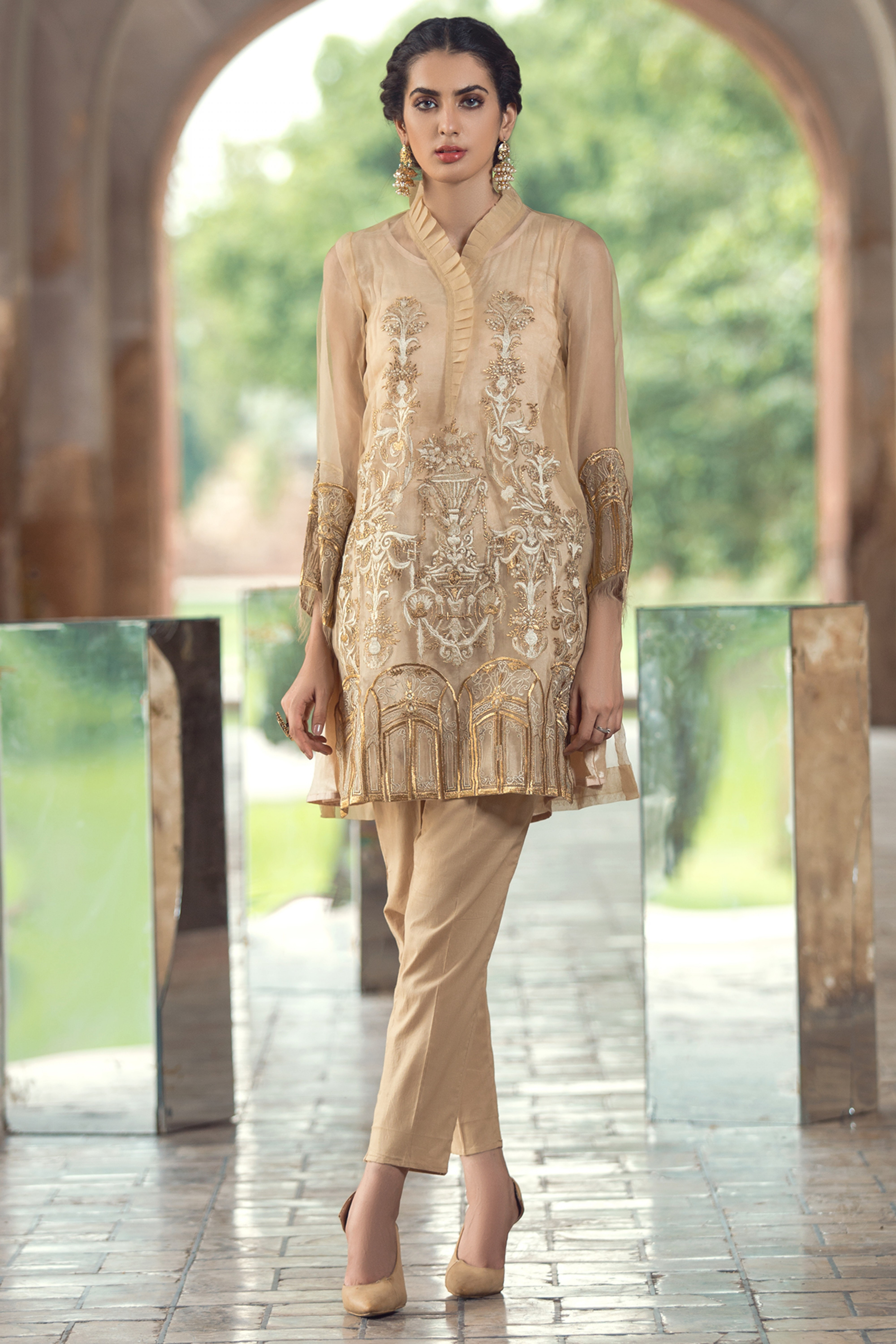 Embroidered Organza Shirt With Inner