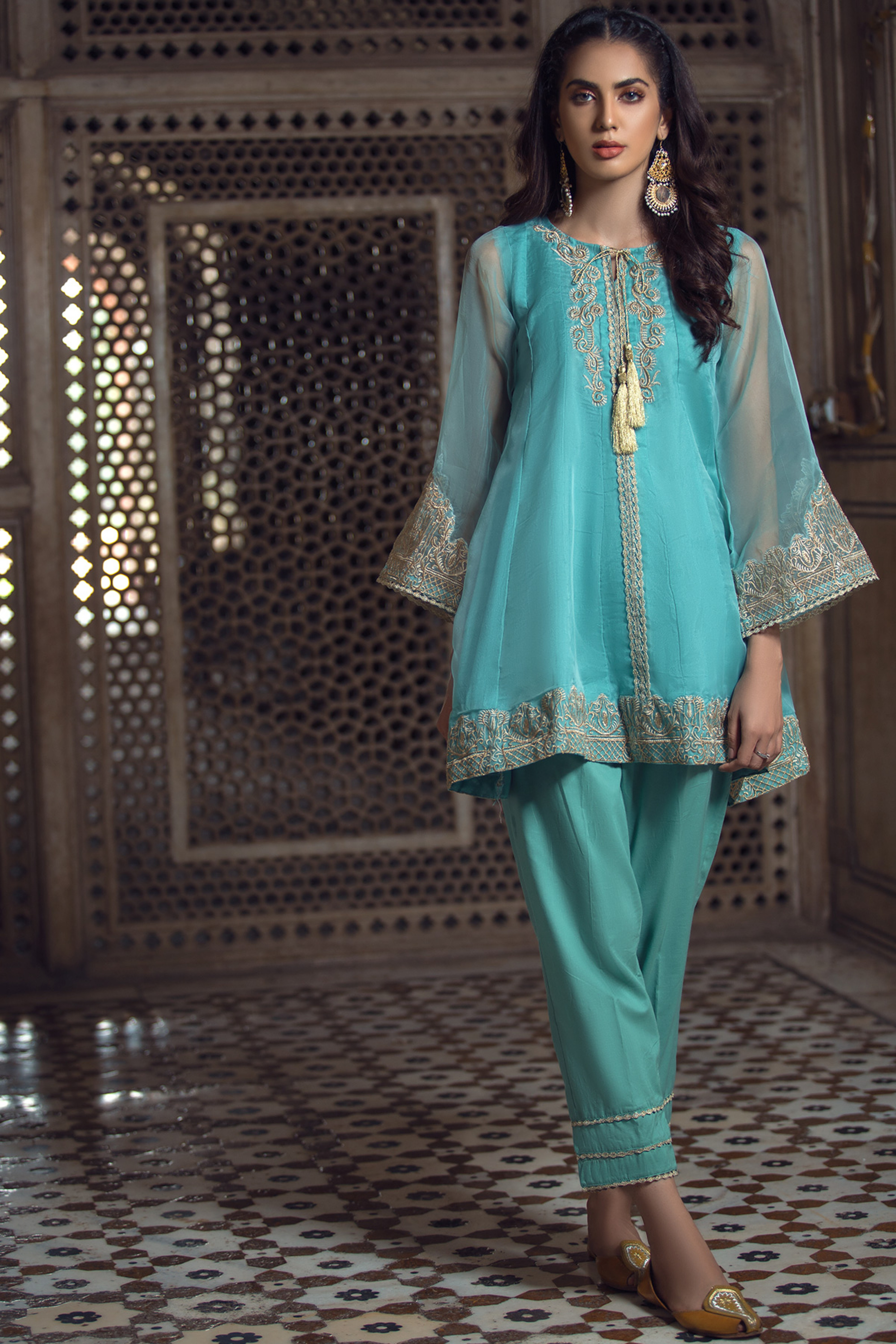 Embroidered Organza Shirt With Inner & Trouser