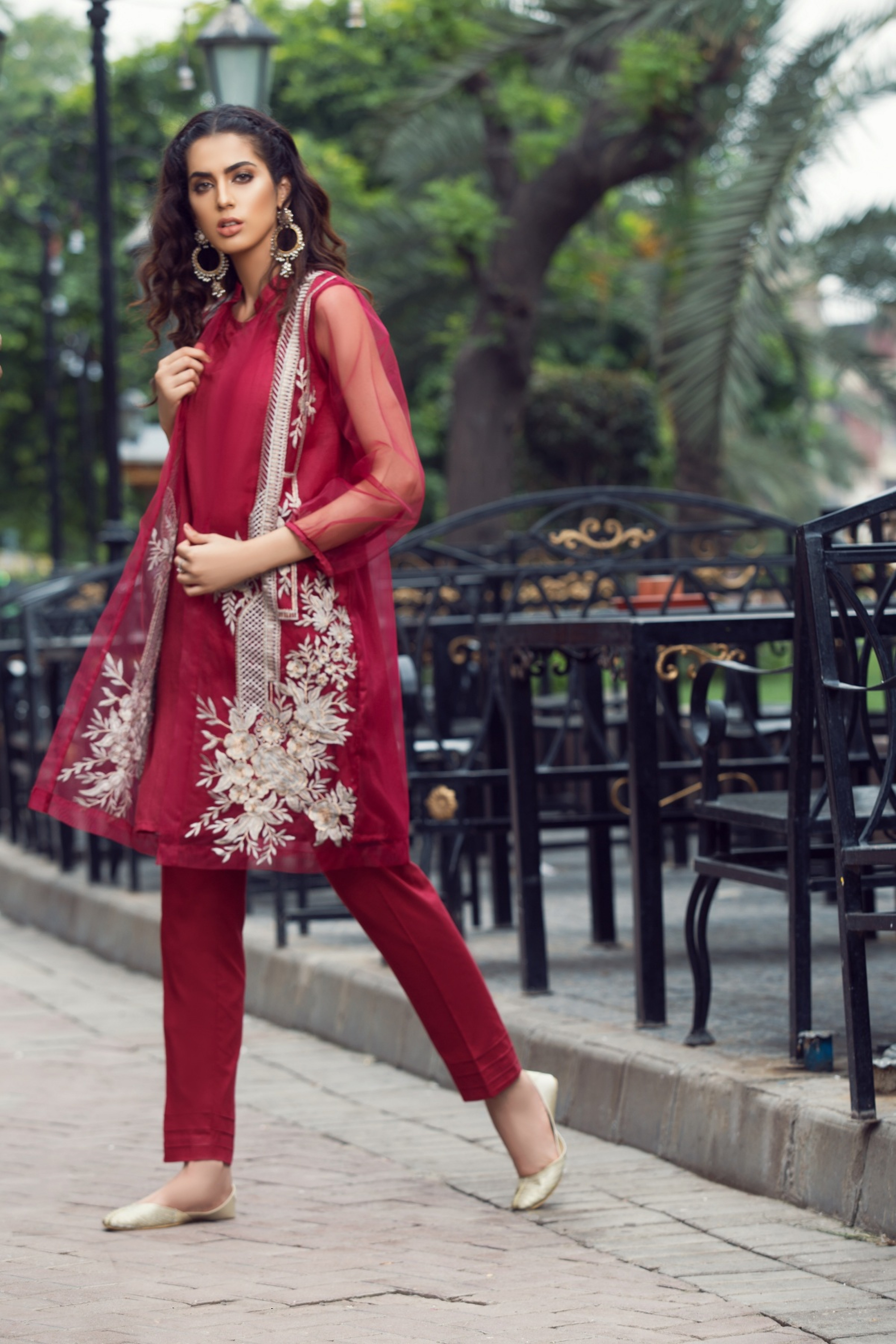 Front Open Embroidered Shirt With Inner & Trouser