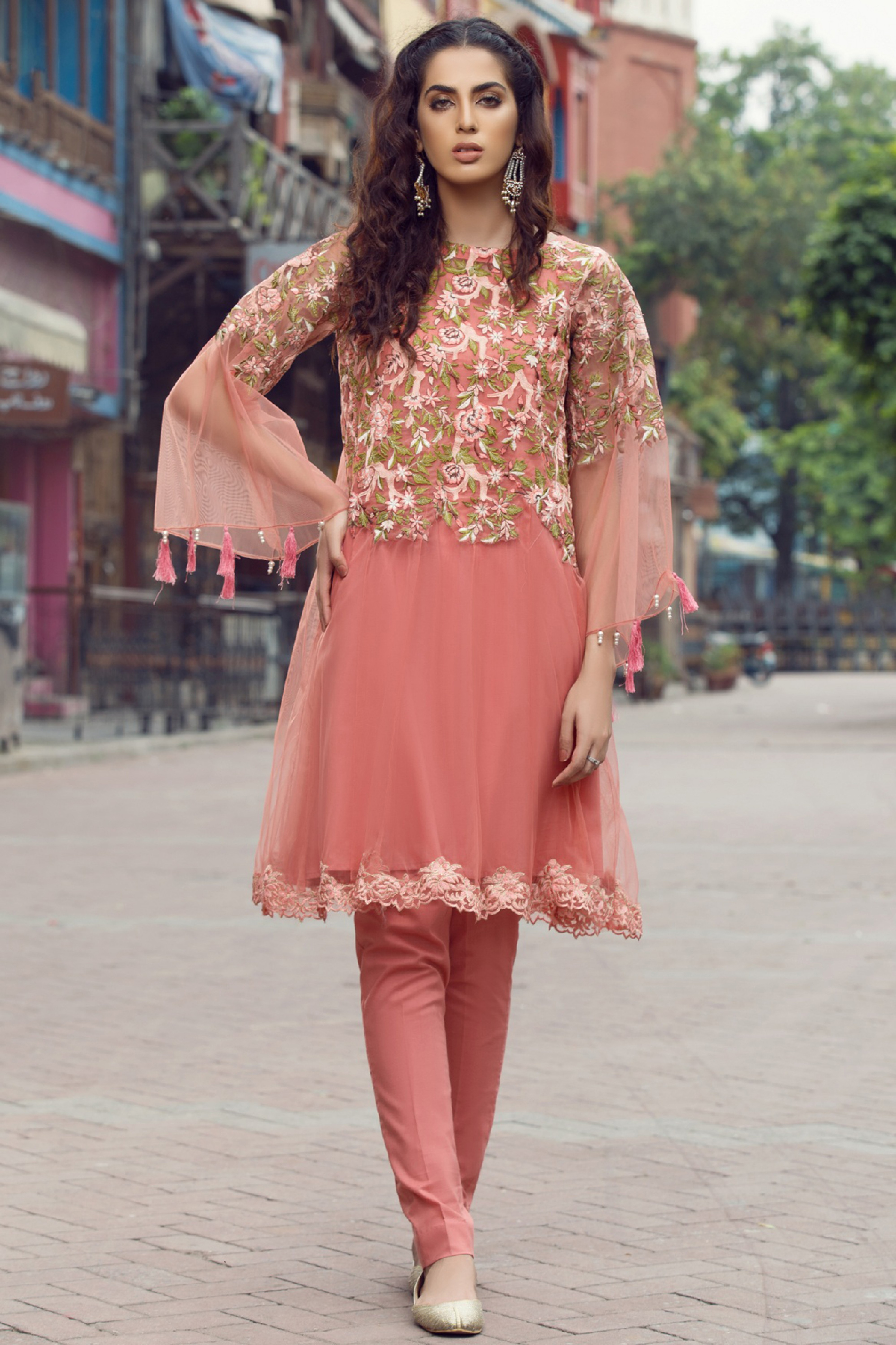 EMBROIDERED  NET SHIRT WITH TROUSER