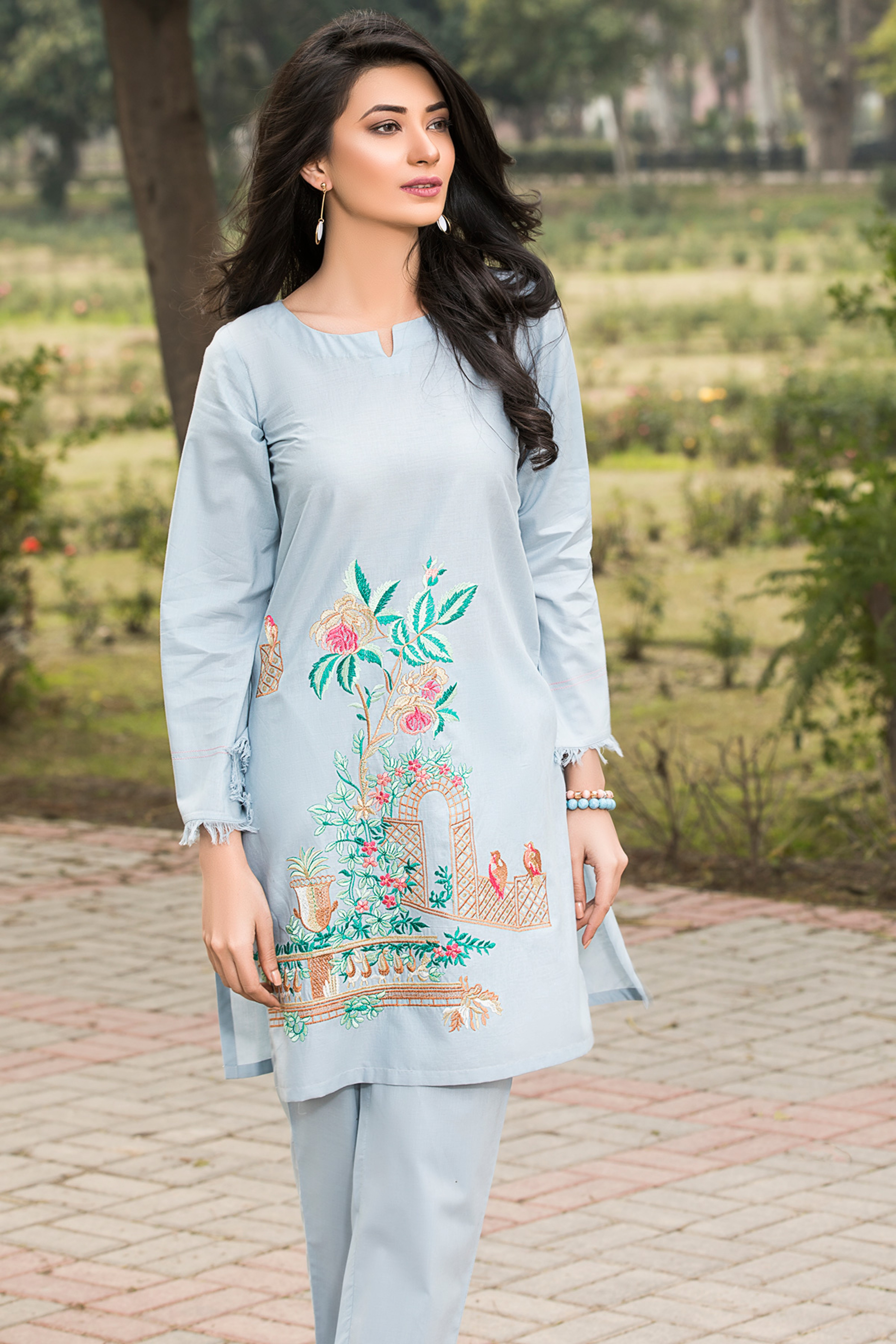 Spring Flowers ( Embroidered Shirt & Trouser )