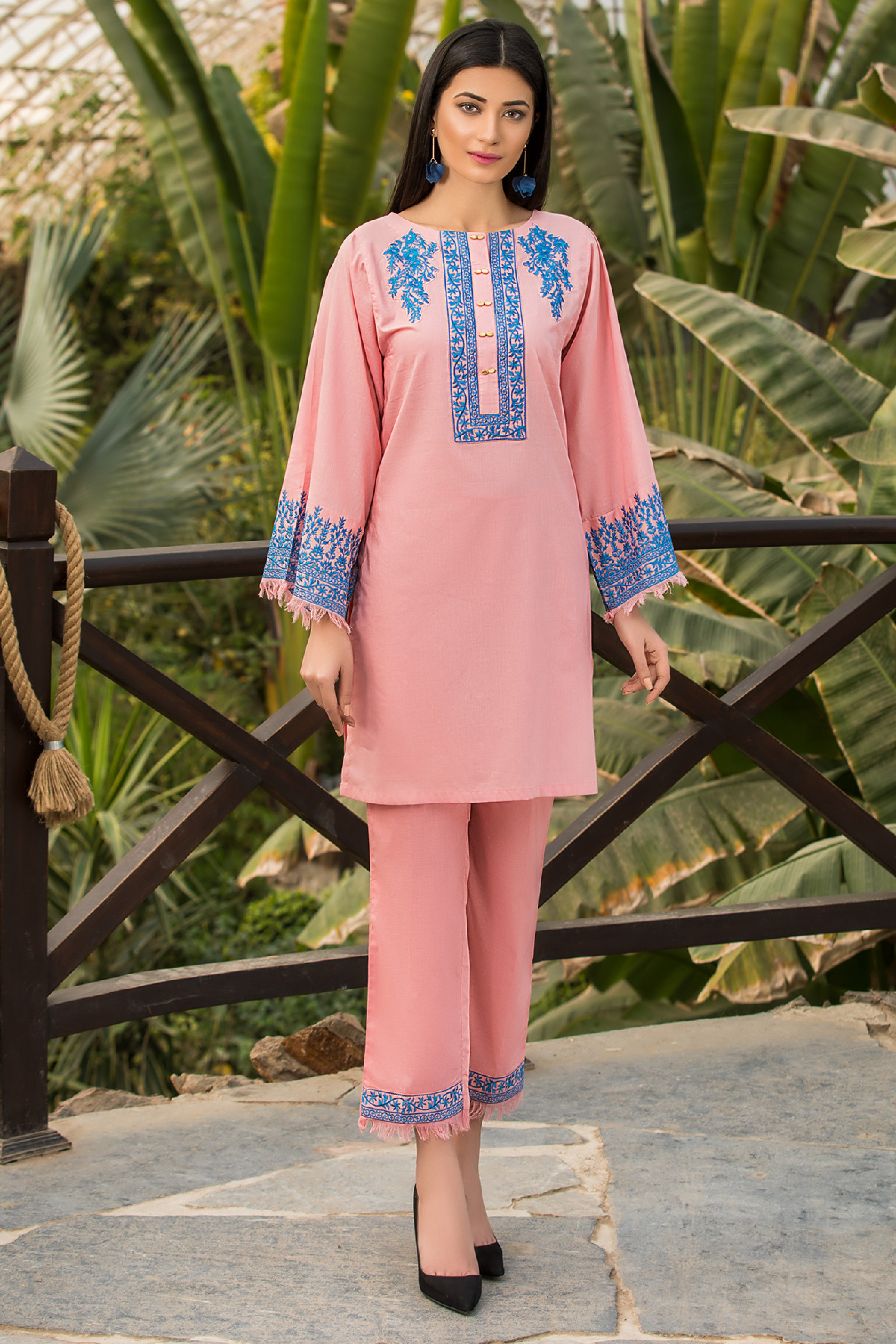 Pink Rose ( Embroidered Shirt & Trouser )