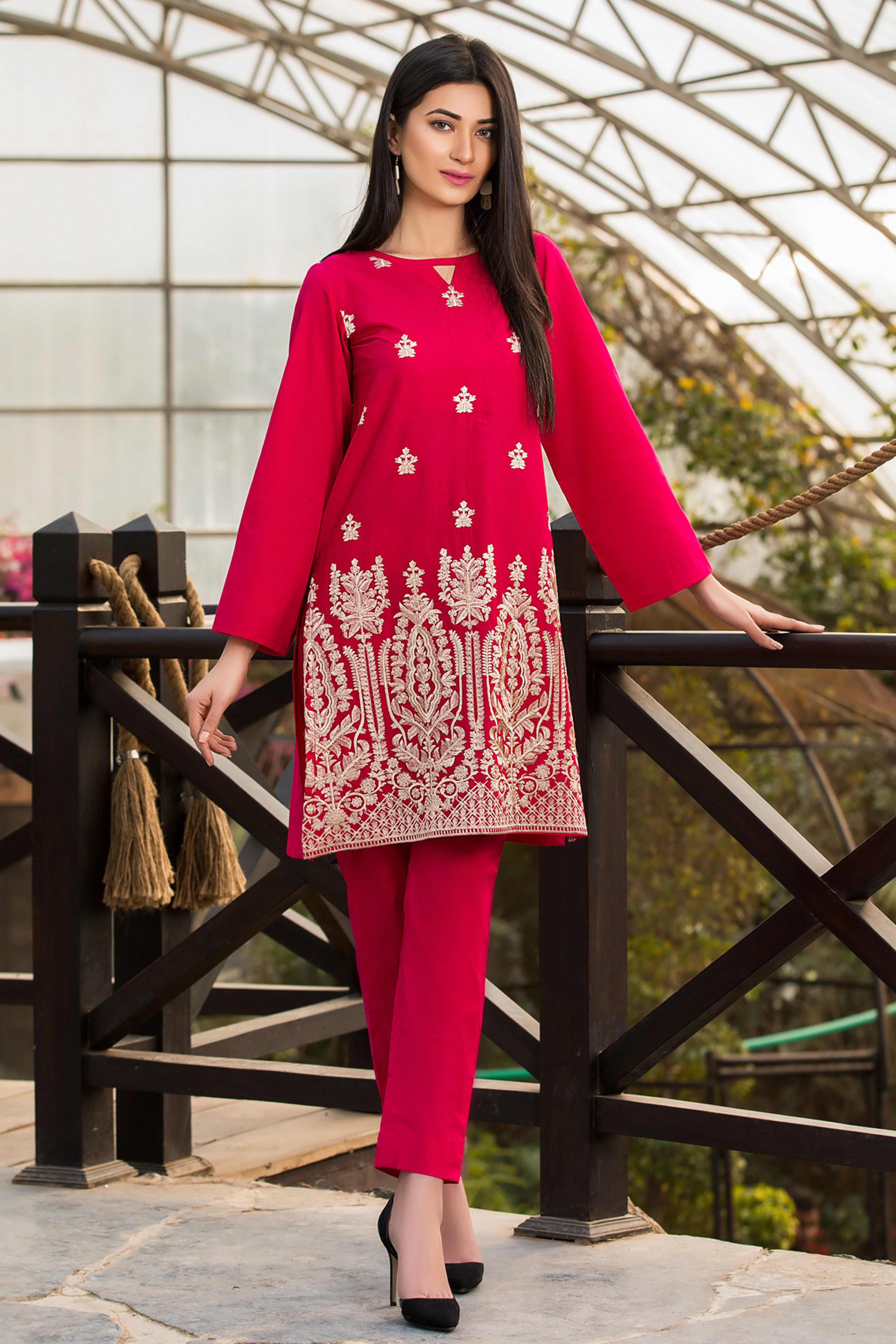 RED LOTUS ( EMBROIDERED SHIRT )