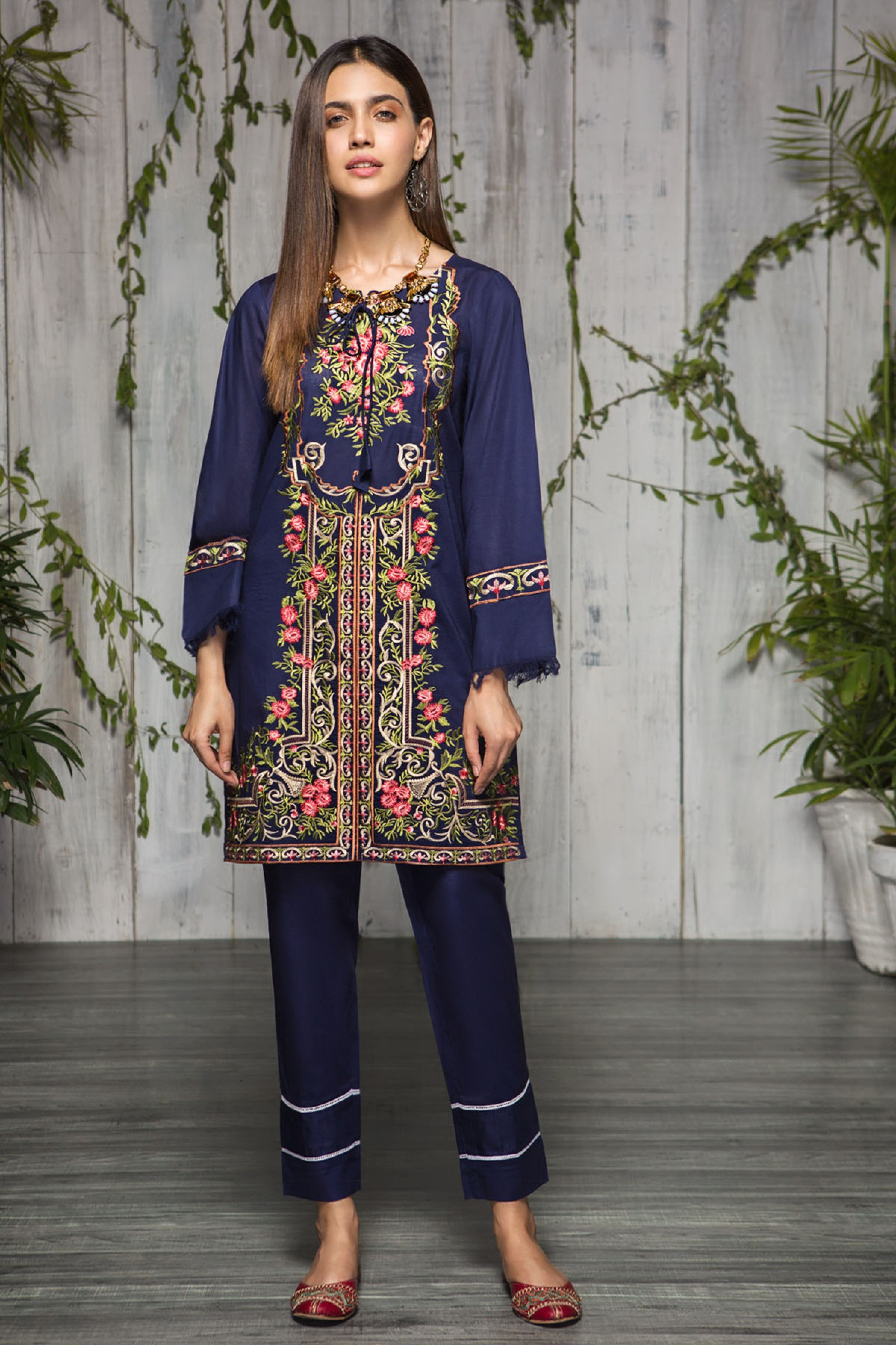 Vivid Blue (Embroidered Shirt & Trouser )