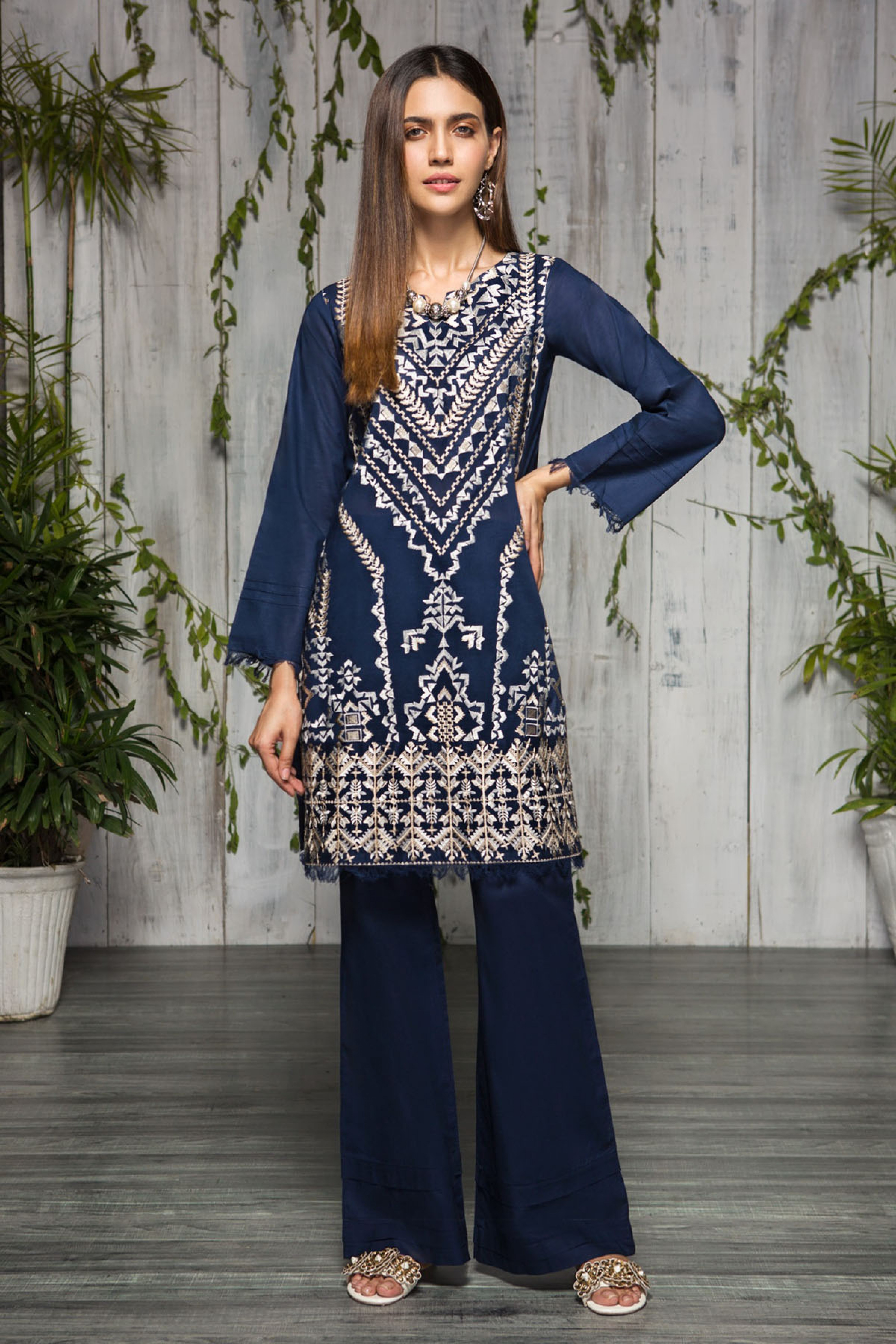 Blue Breeze (Embroidered Shirt & Trouser )