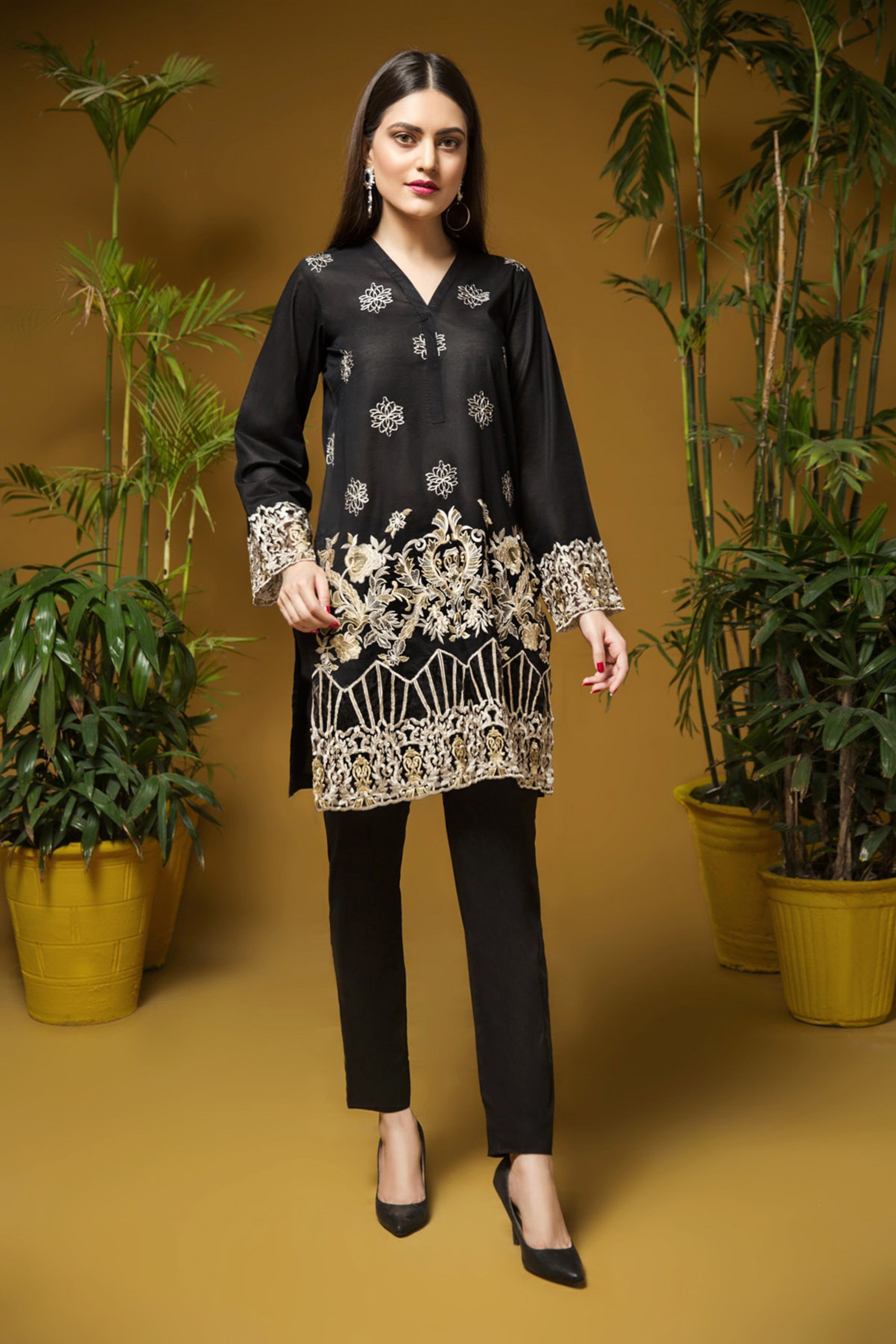 Antique Black ( Embroidered Shirt )