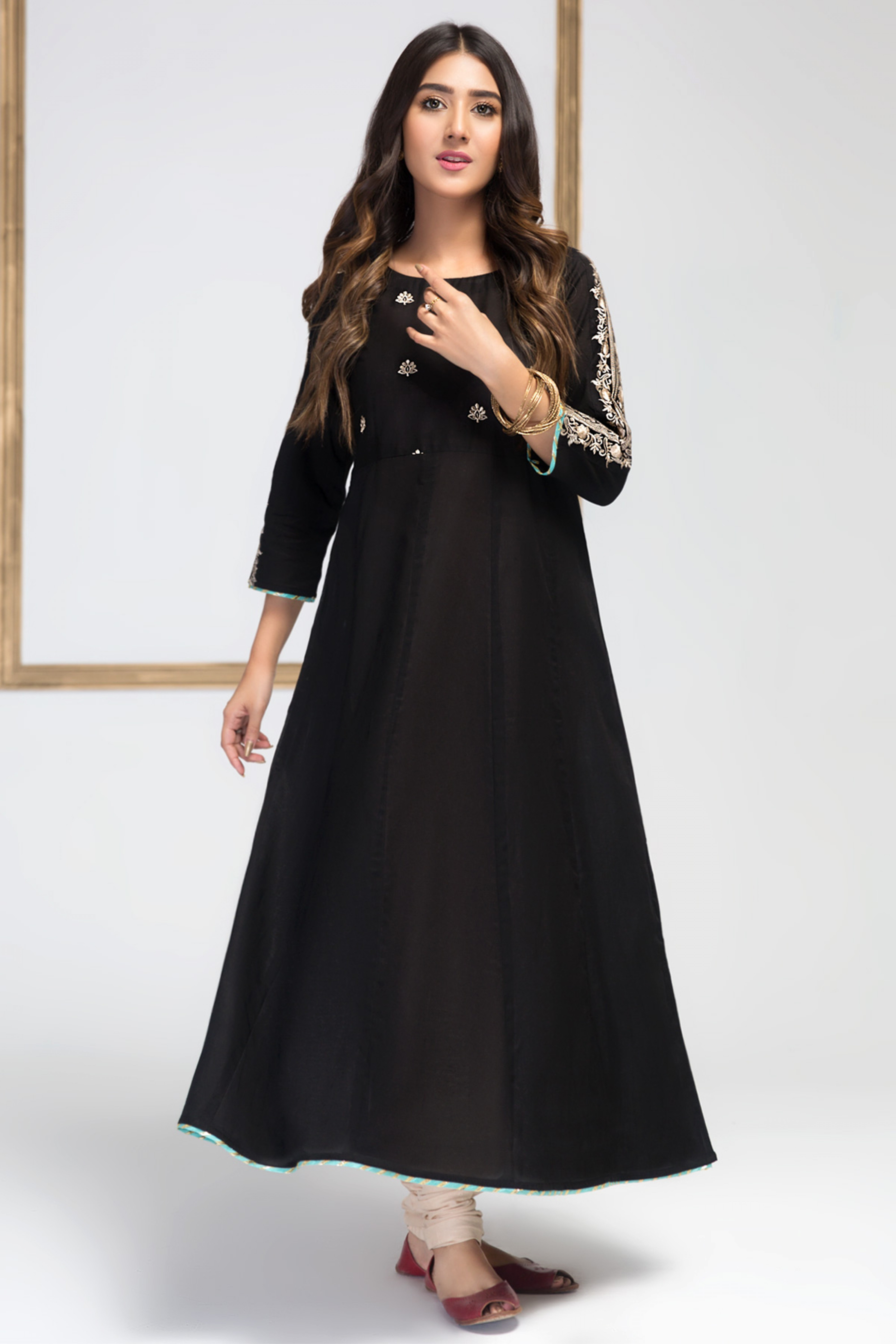 Charcoal Black (Embroidered Frock )