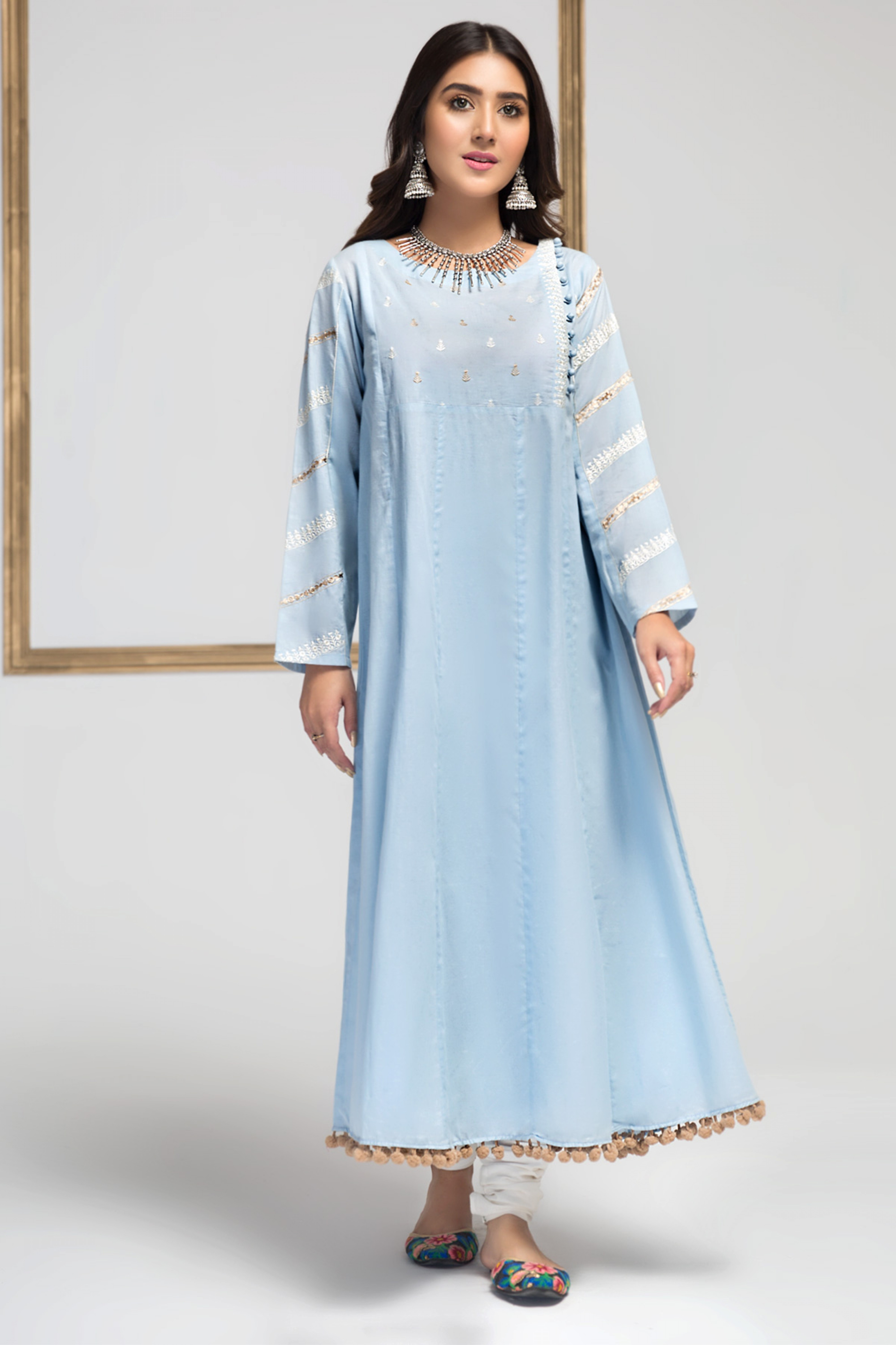 Aqua (Embroidered Frock )
