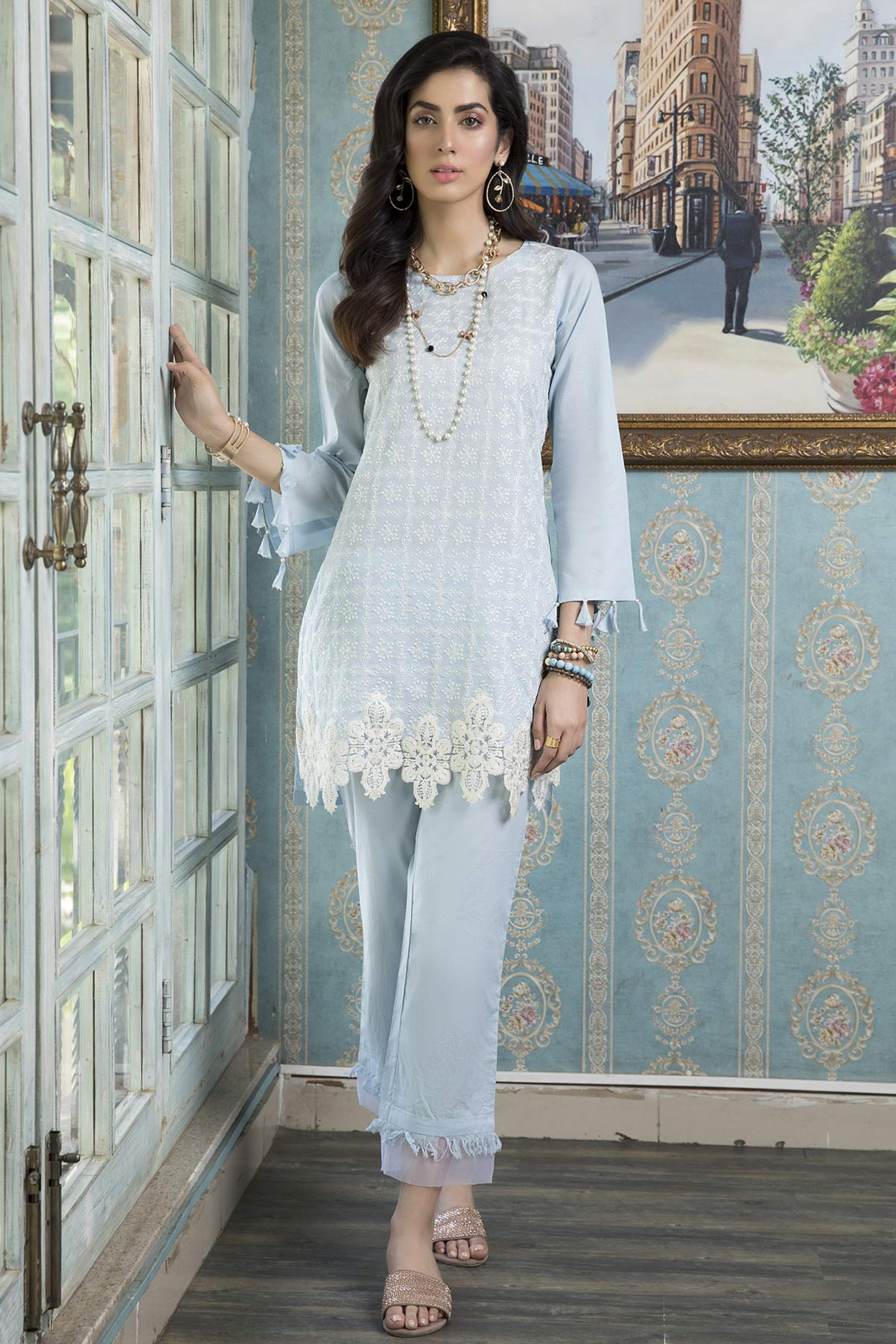 BLUE BLISS (EMBROIDERED SHIRT & TROUSER )