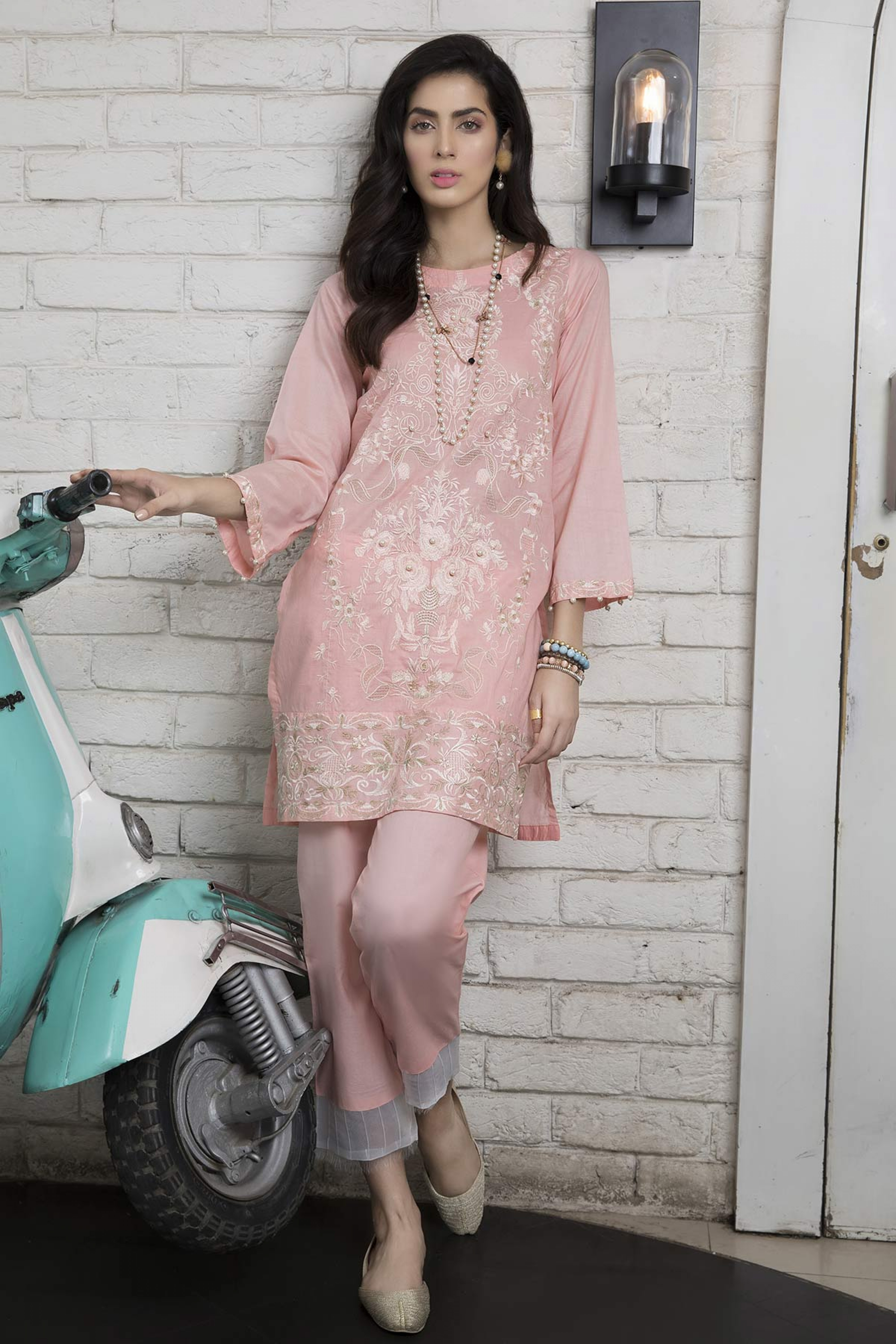 PINK BLOSSOM (EMBROIDERED SHIRT & TROUSER )