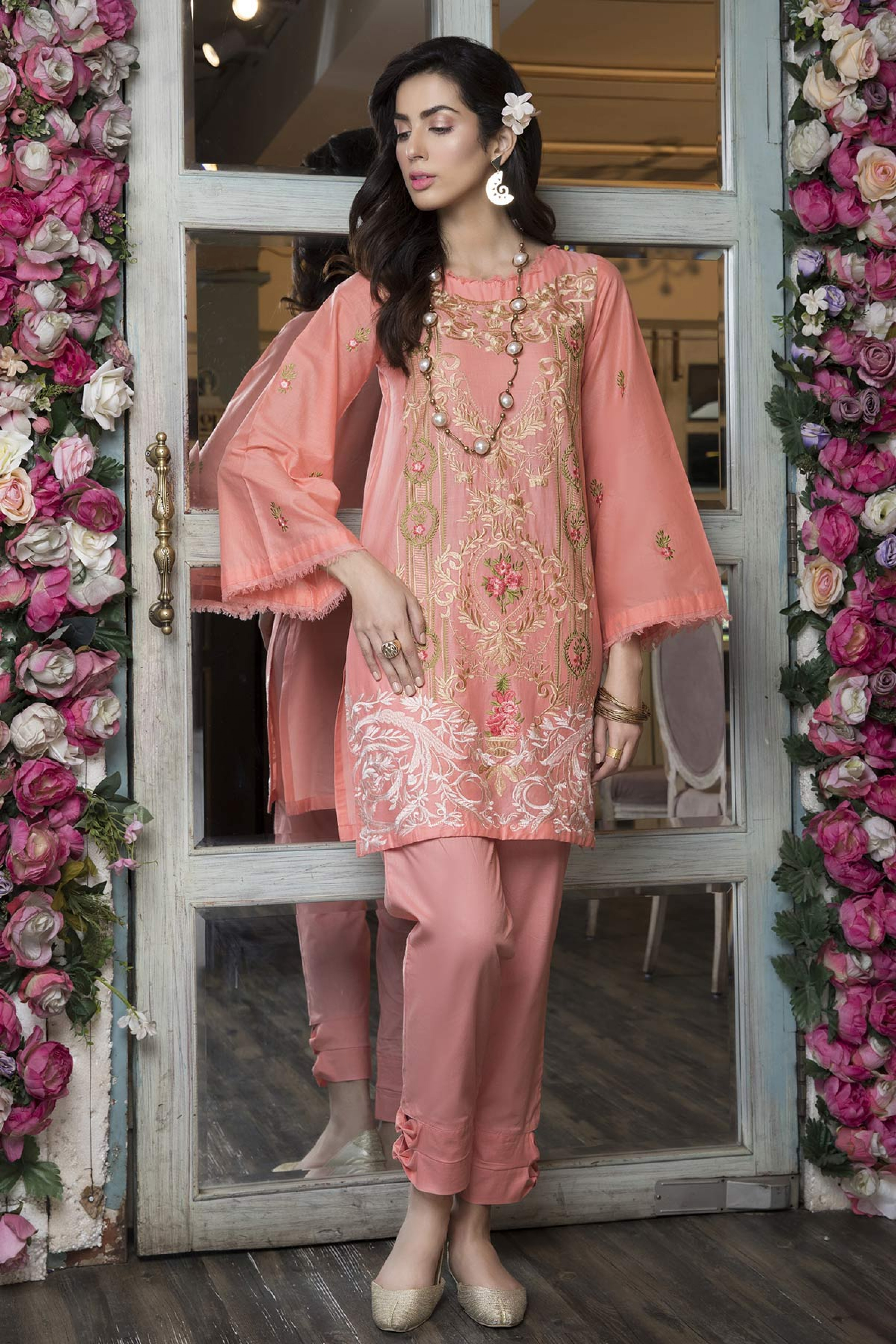 PEACH CRAZE (EMBROIDERED SHIRT & TROUSER )
