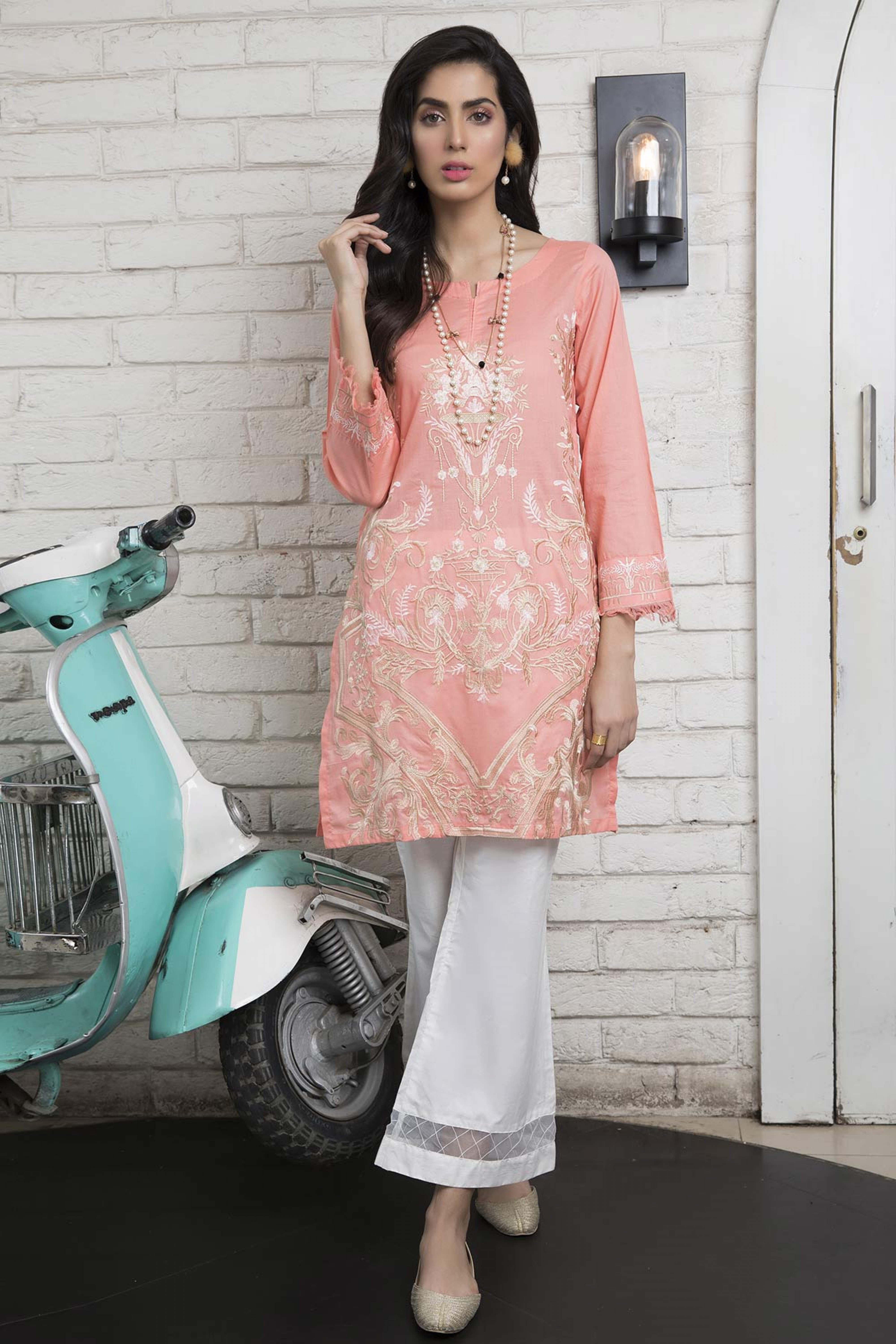 PRETTY PINK (EMBROIDERED SHIRT & TROUSER )