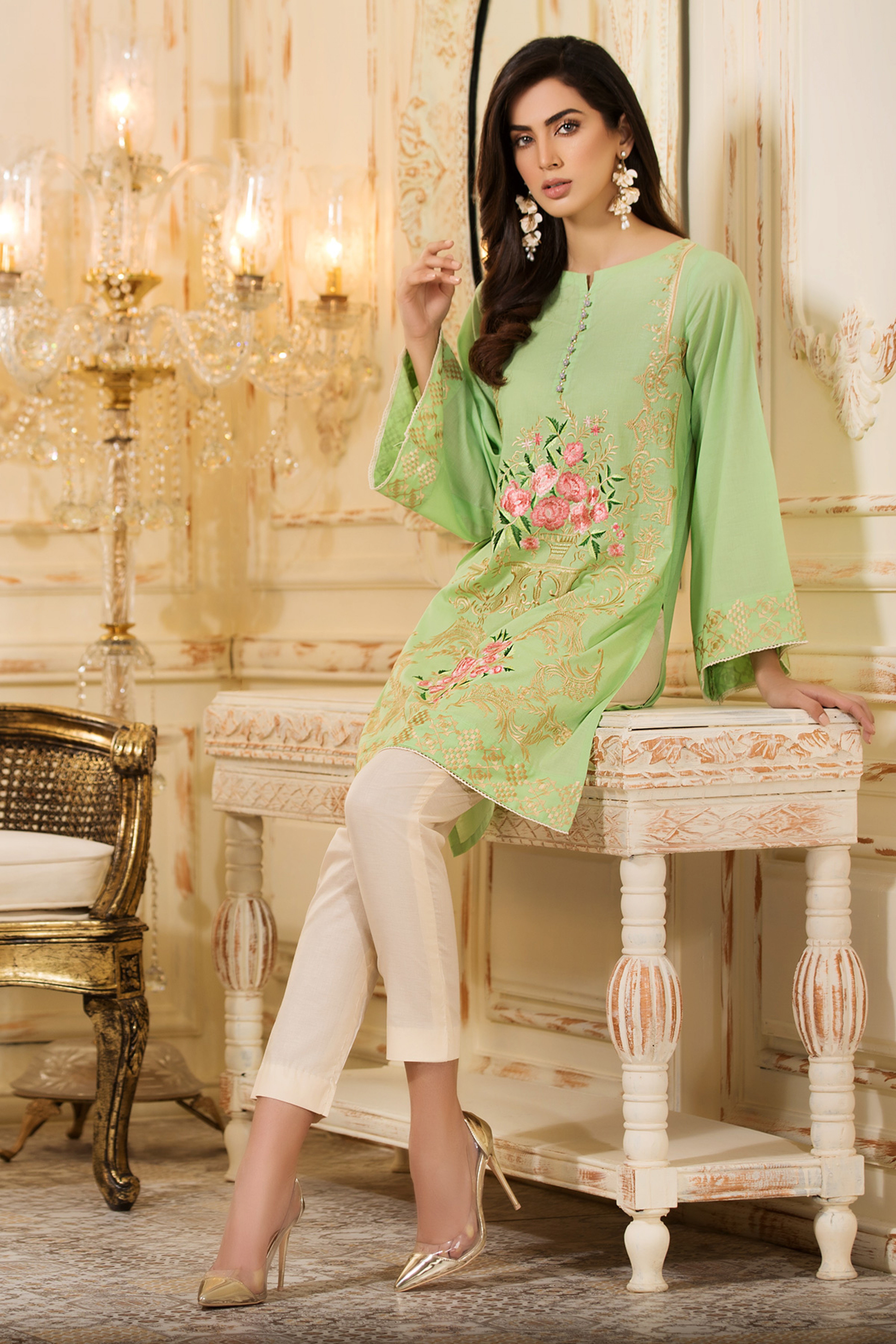 Princess ( Unstitched Embroidered Shirt )