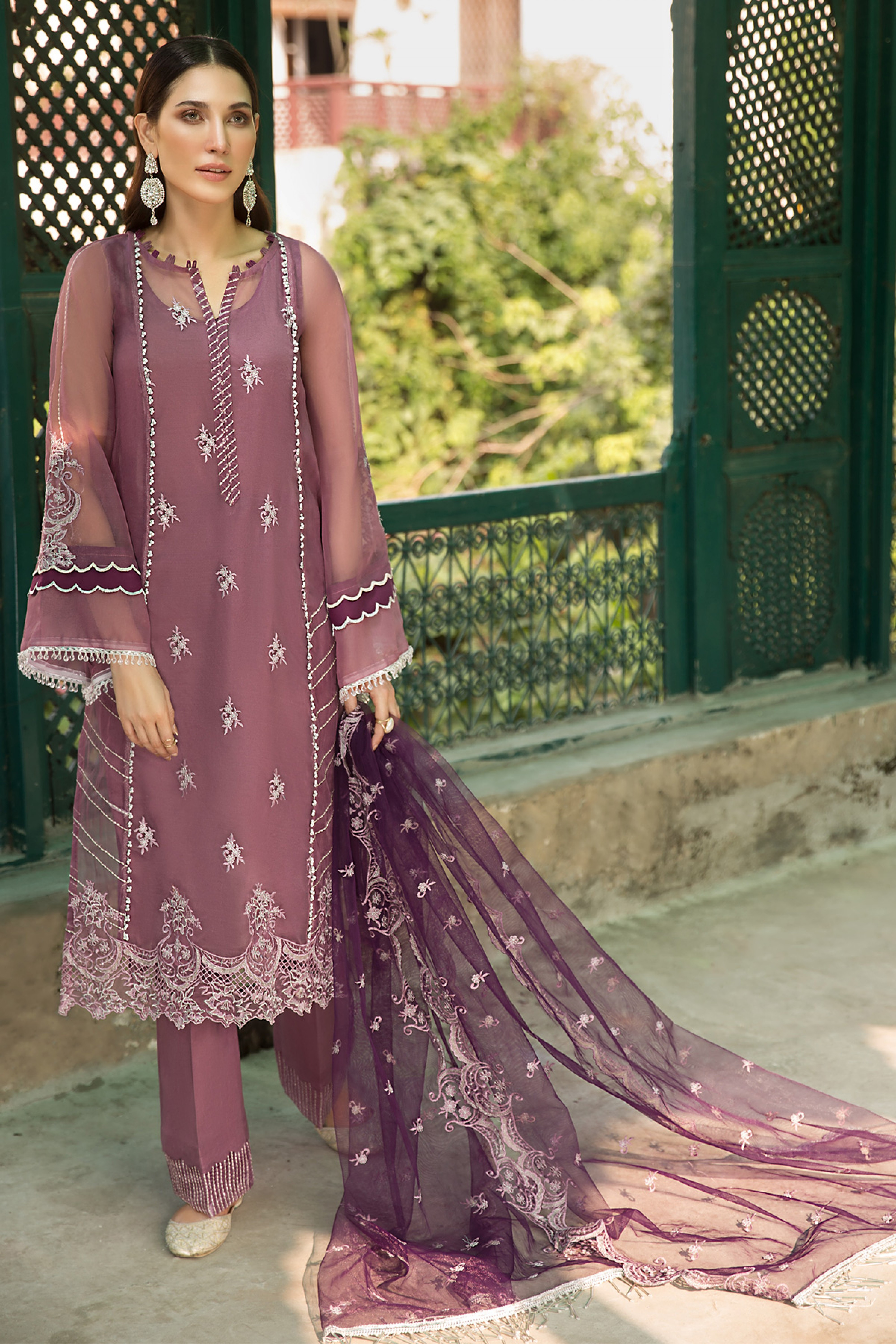 Dusty Lavender(Embroidered Shirt & Dupatta)