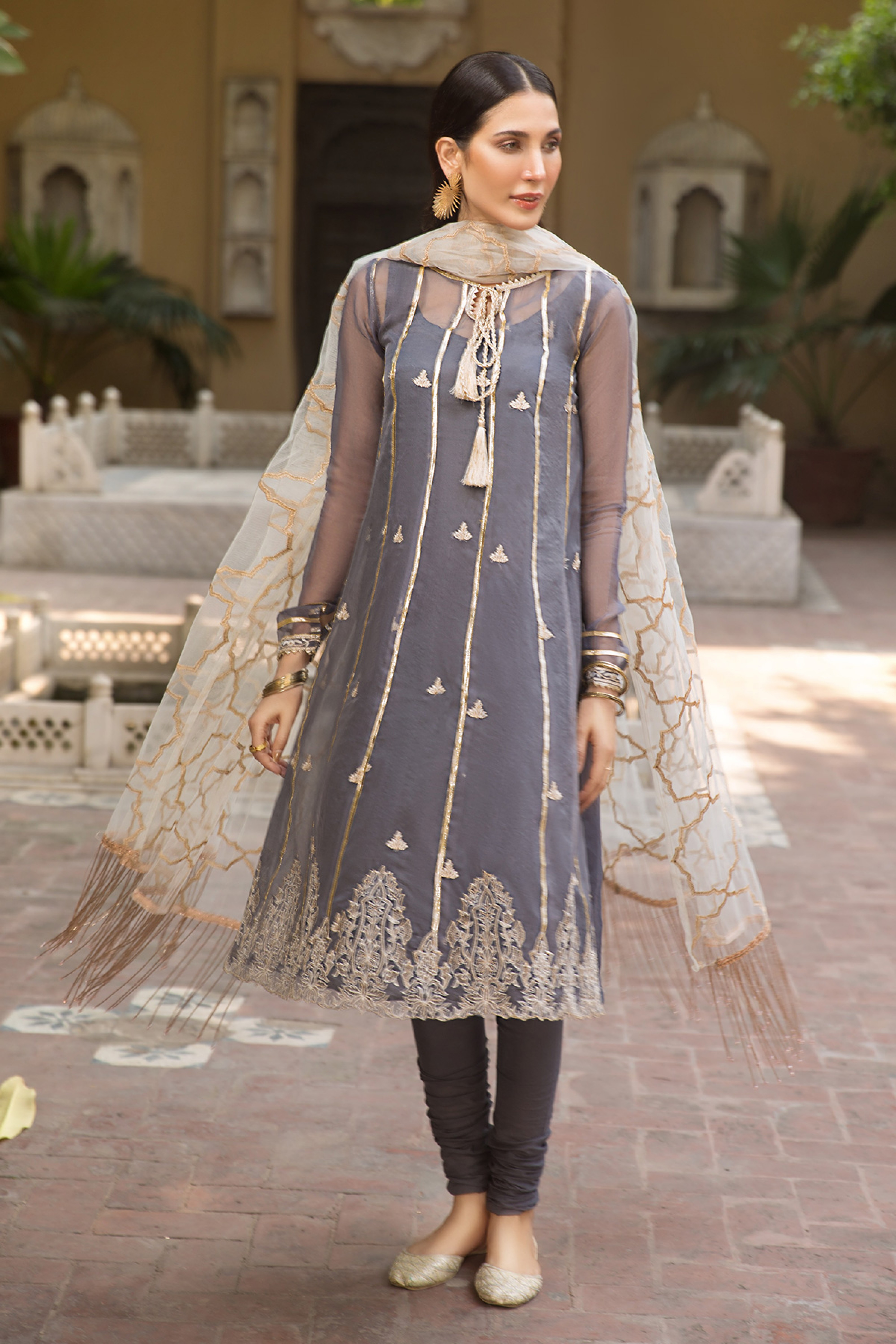 Pearl Grey(Embroidered Shirt & Dupatta)