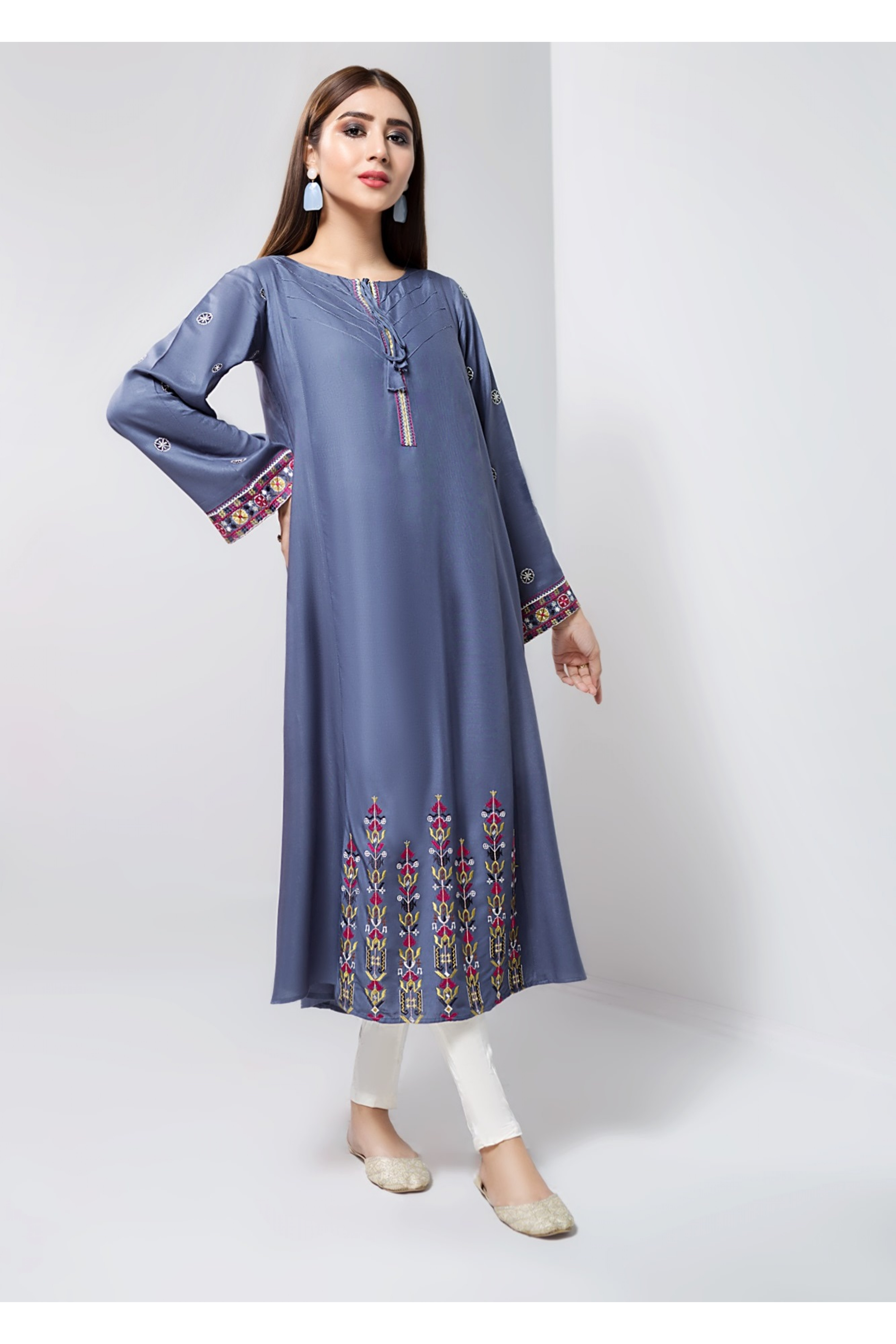 NEUTRAL GRAY(Embroidered Frock)