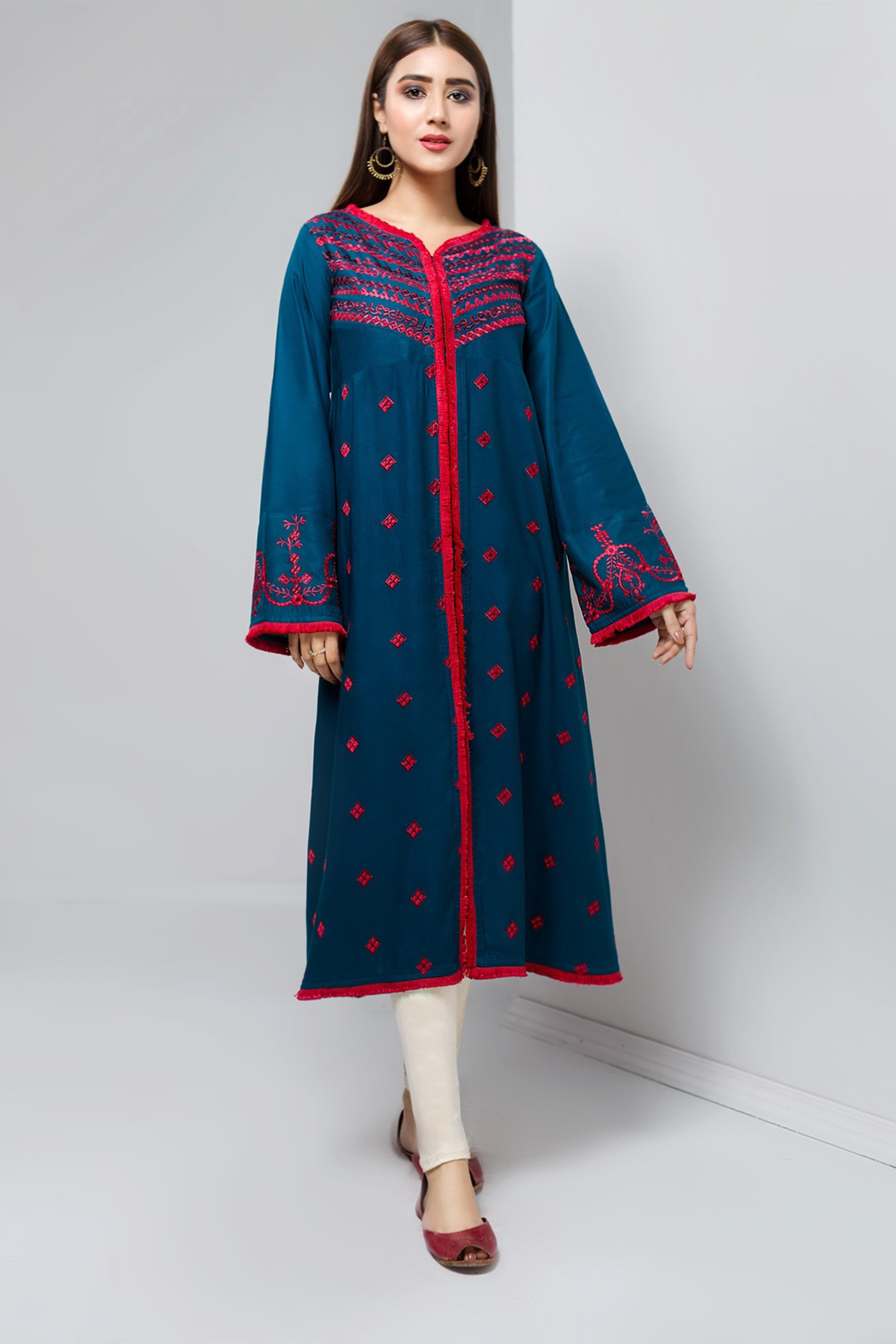 ROYAL RED(Embroidered Frock)