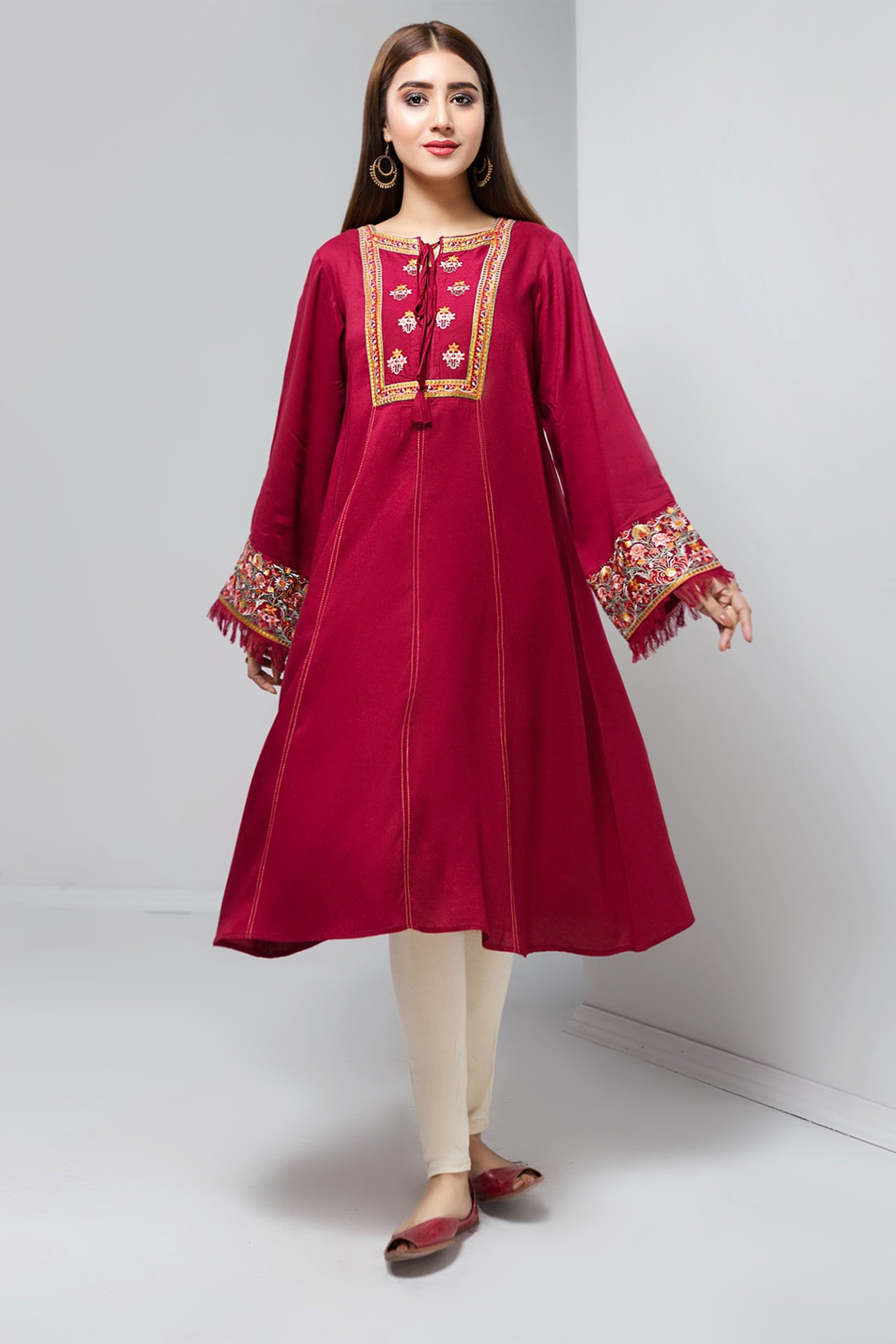 RED FLAMES(Embroidered Frock)