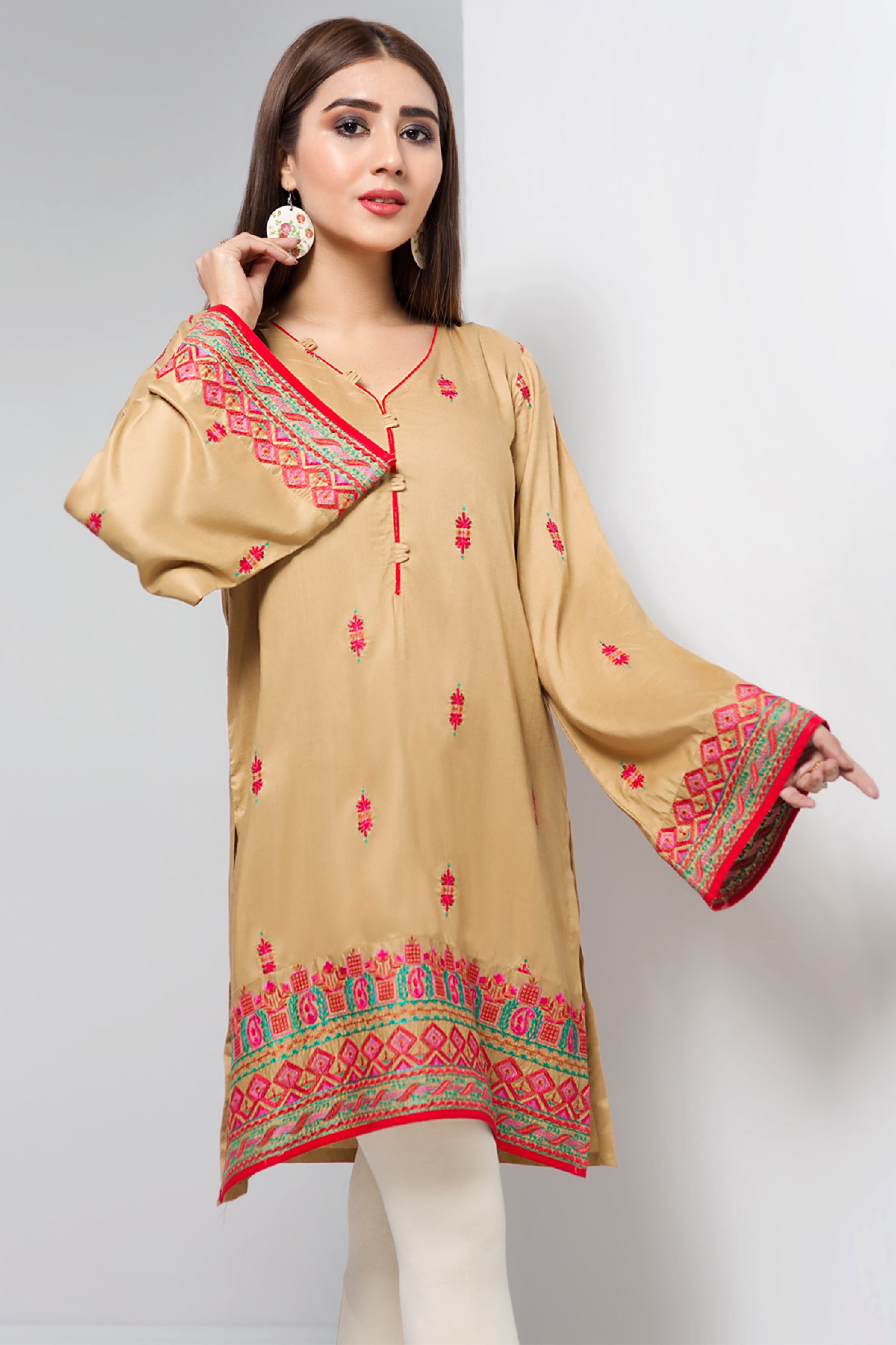 WARM APRICOT(Embroidered Kurta)