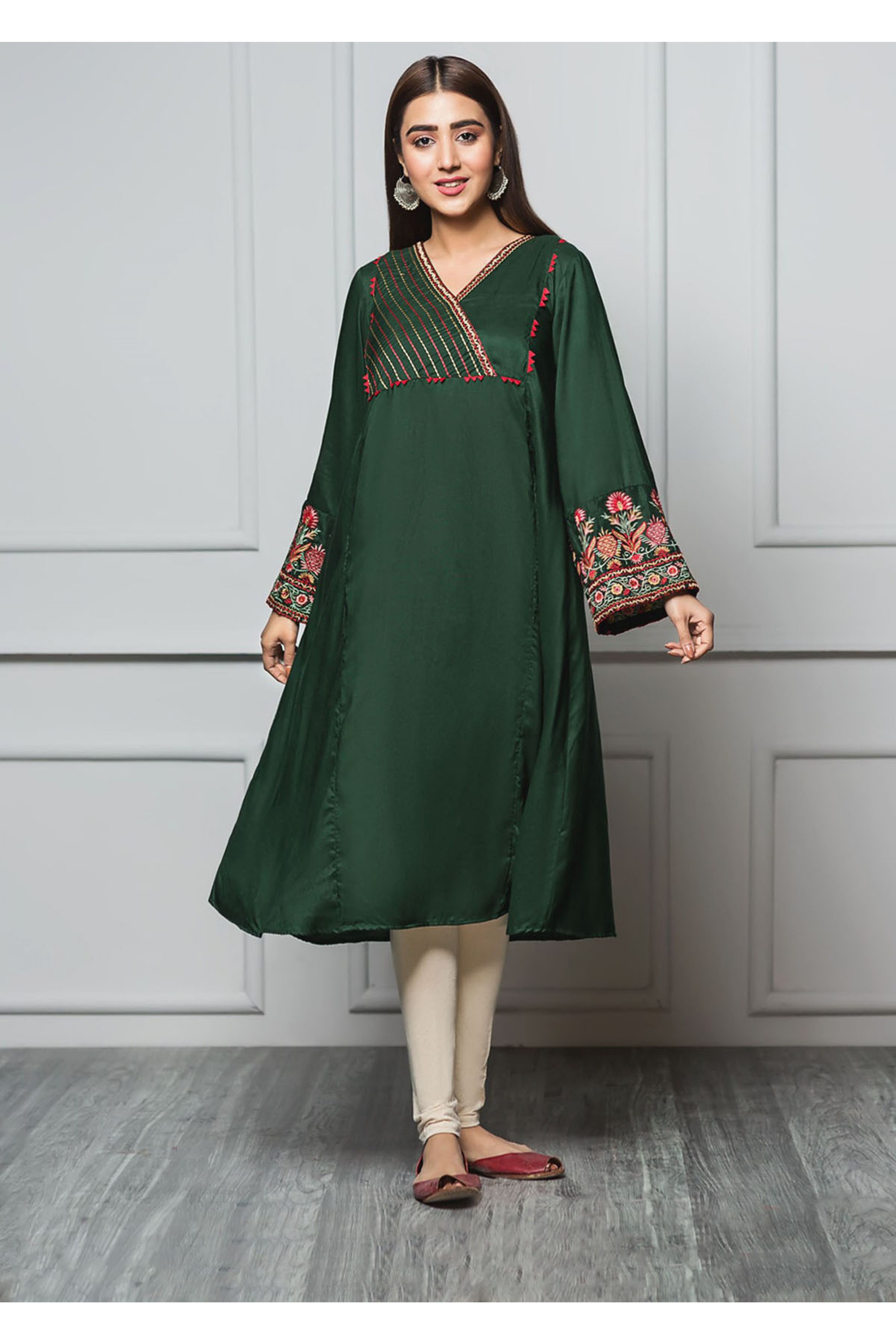 VIVID GREEN(Embroidered Frock)