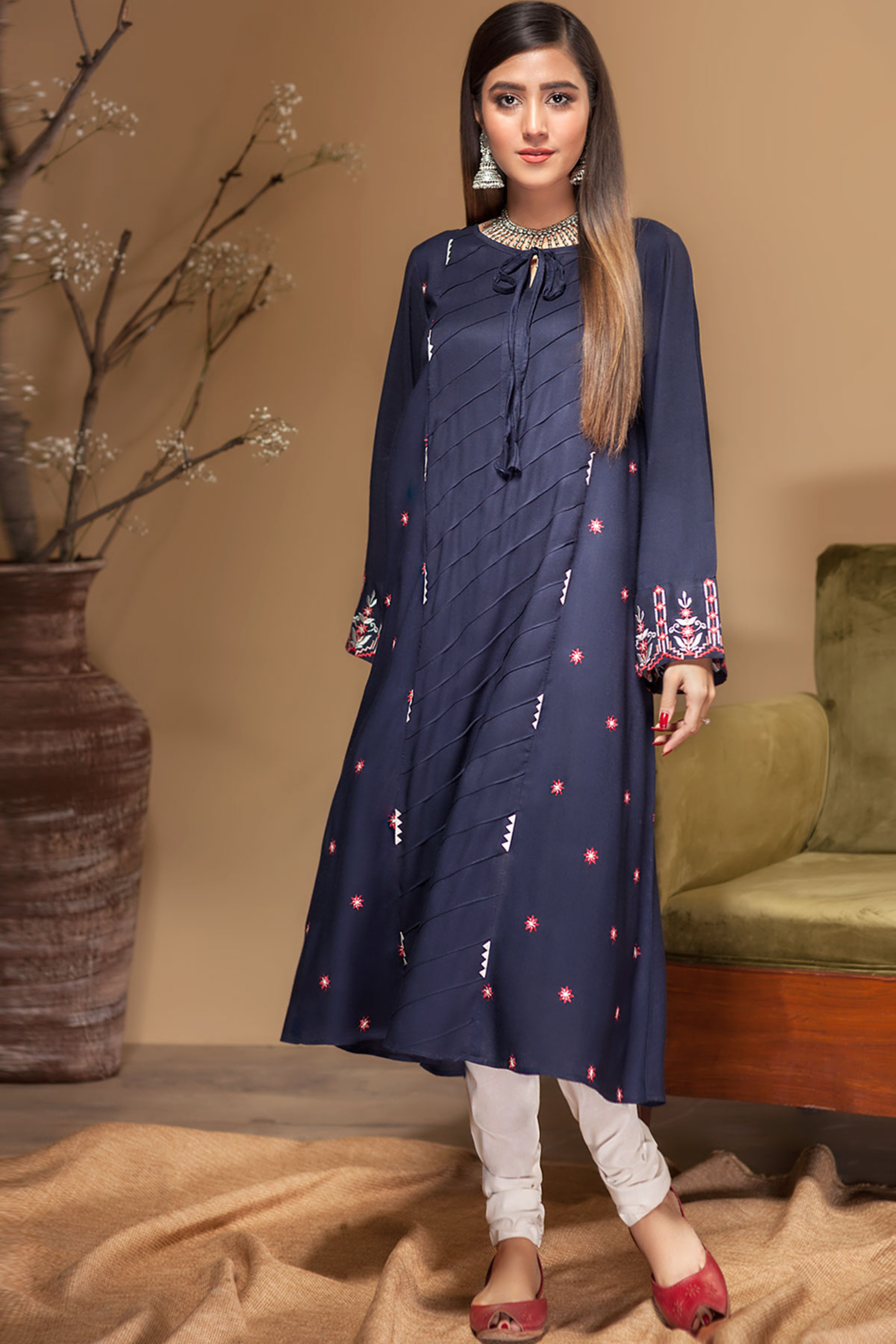 BLUE PINE(Embroidered Frock)