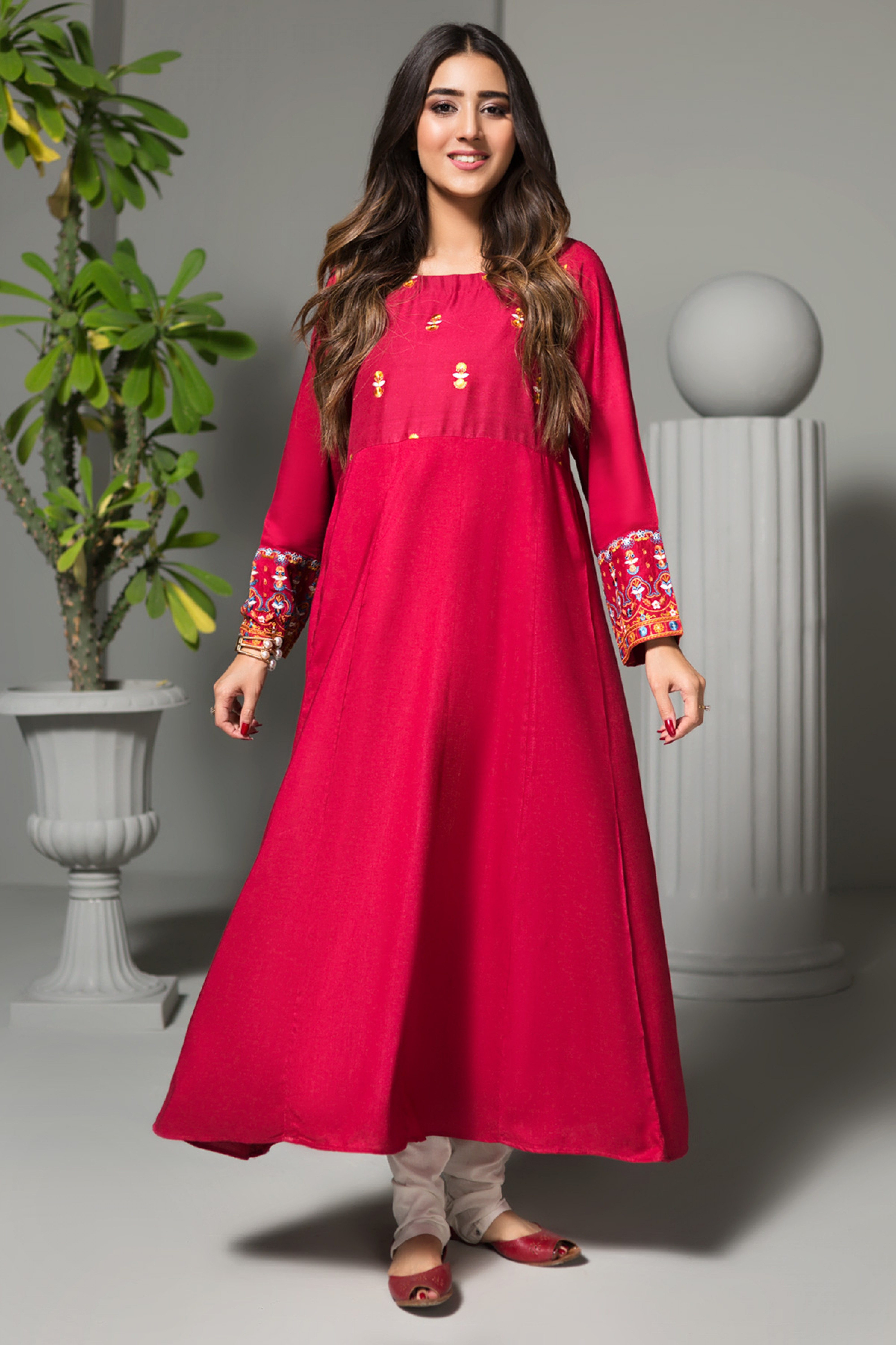AURORA RED(Embroidered Frock)