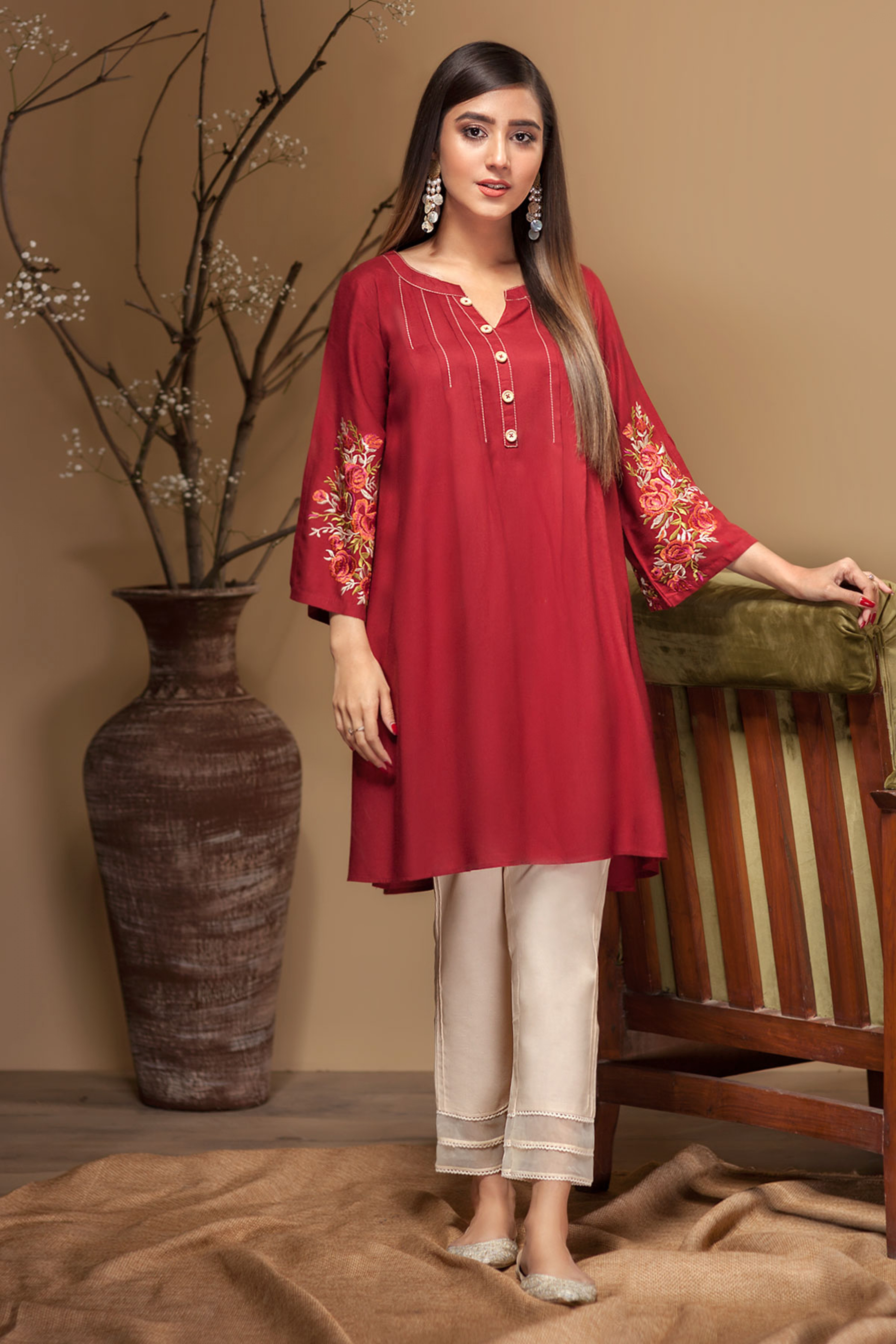 WILD RED(Embroidered Kurta)