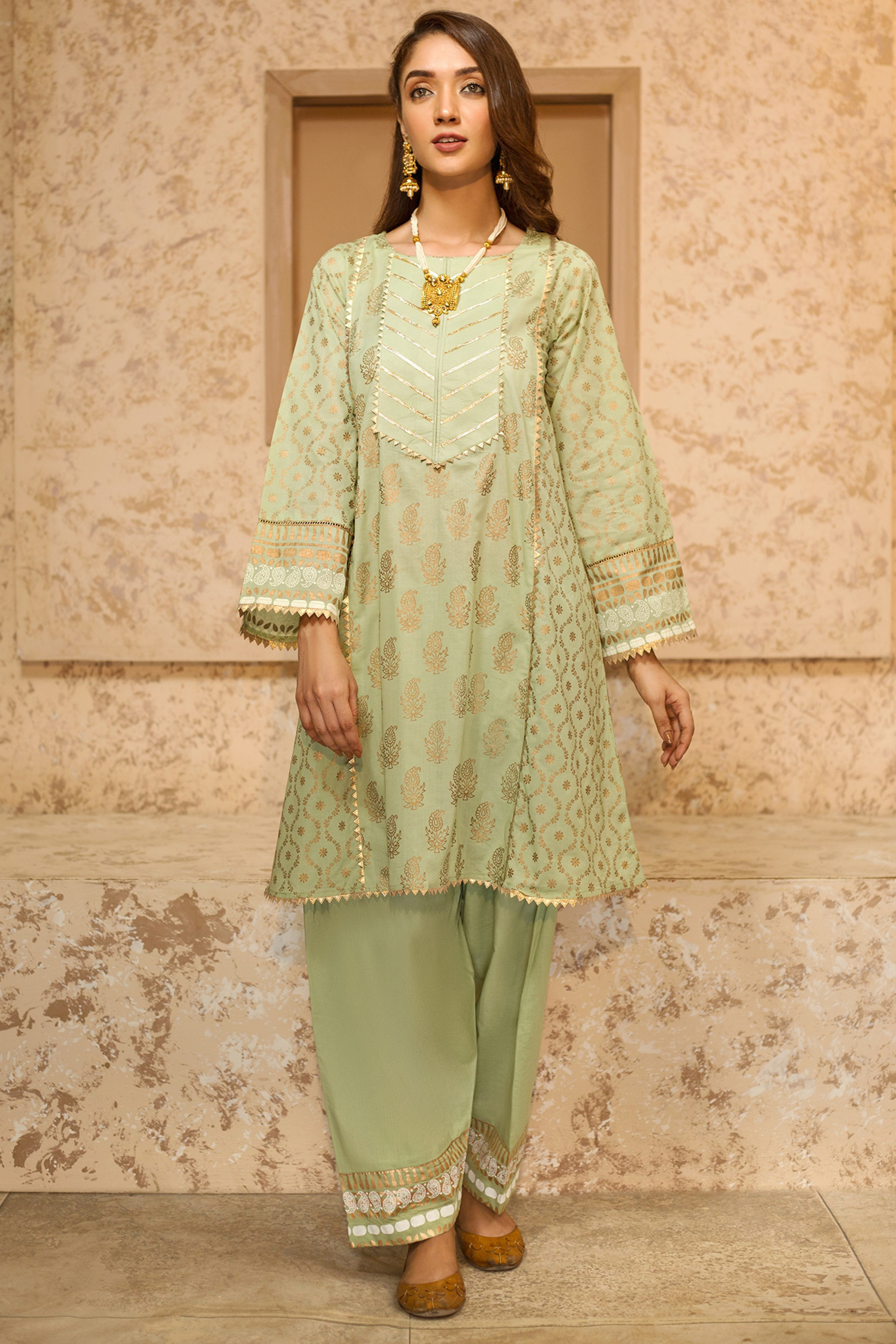 MUSHK(Gold Printed Frock With Shalwar)