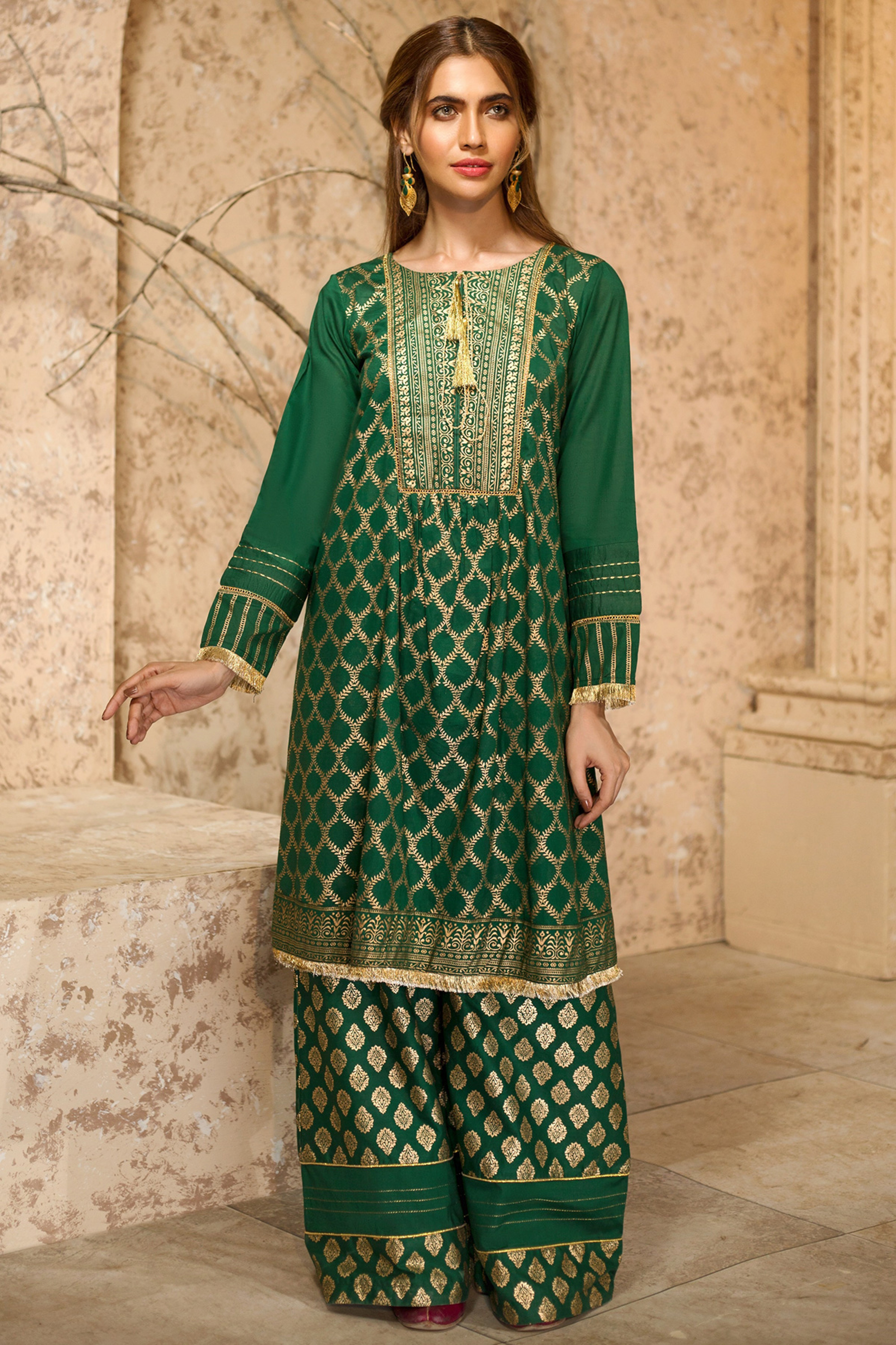 DASTAAN(Gold Printed Frock With Plazo)