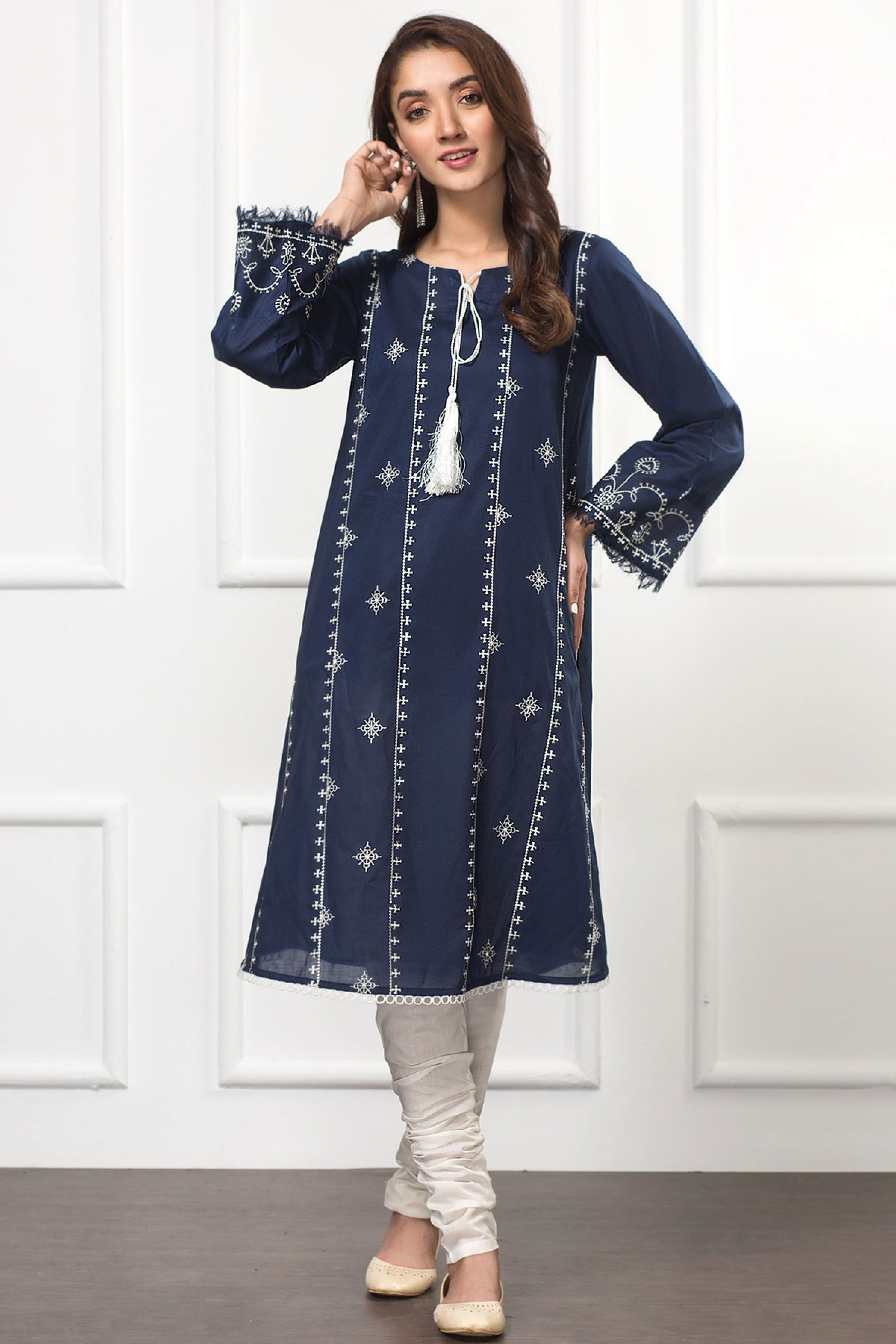 DAZZLE BLUE(Embroidered Frock)