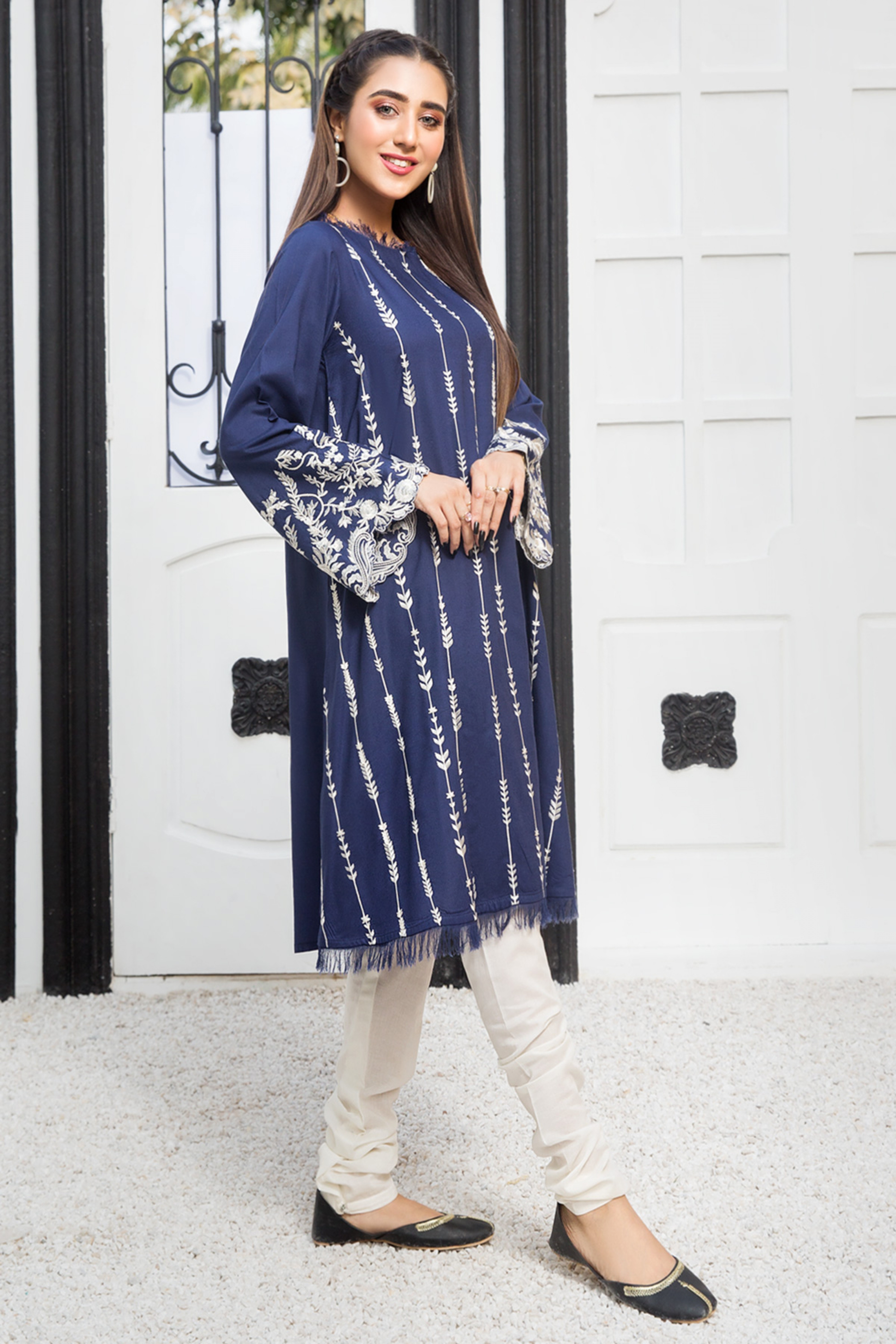 BLUE FLAMES(Embroidered Frock)