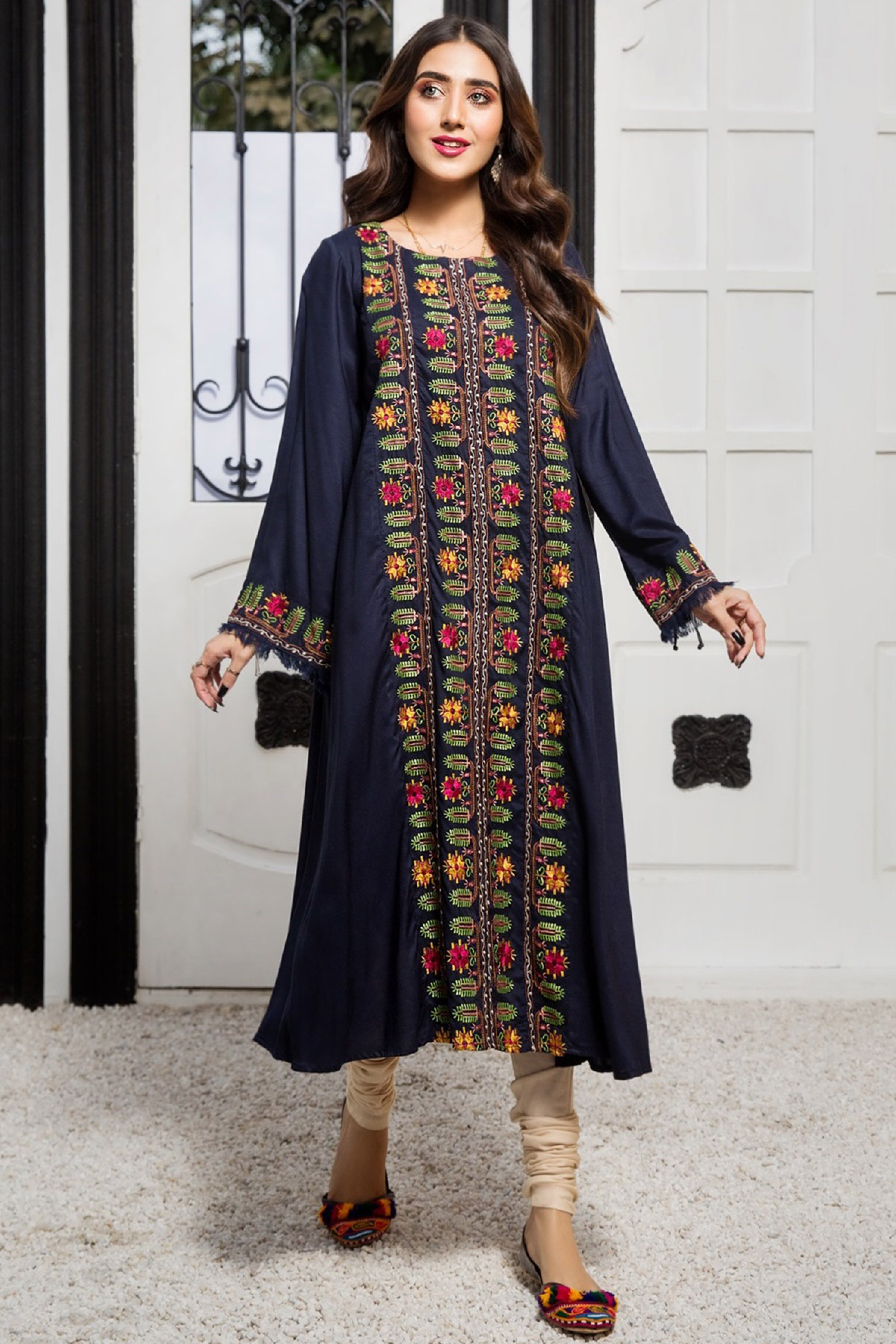 TRUE BLUE(Embroidered Frock)