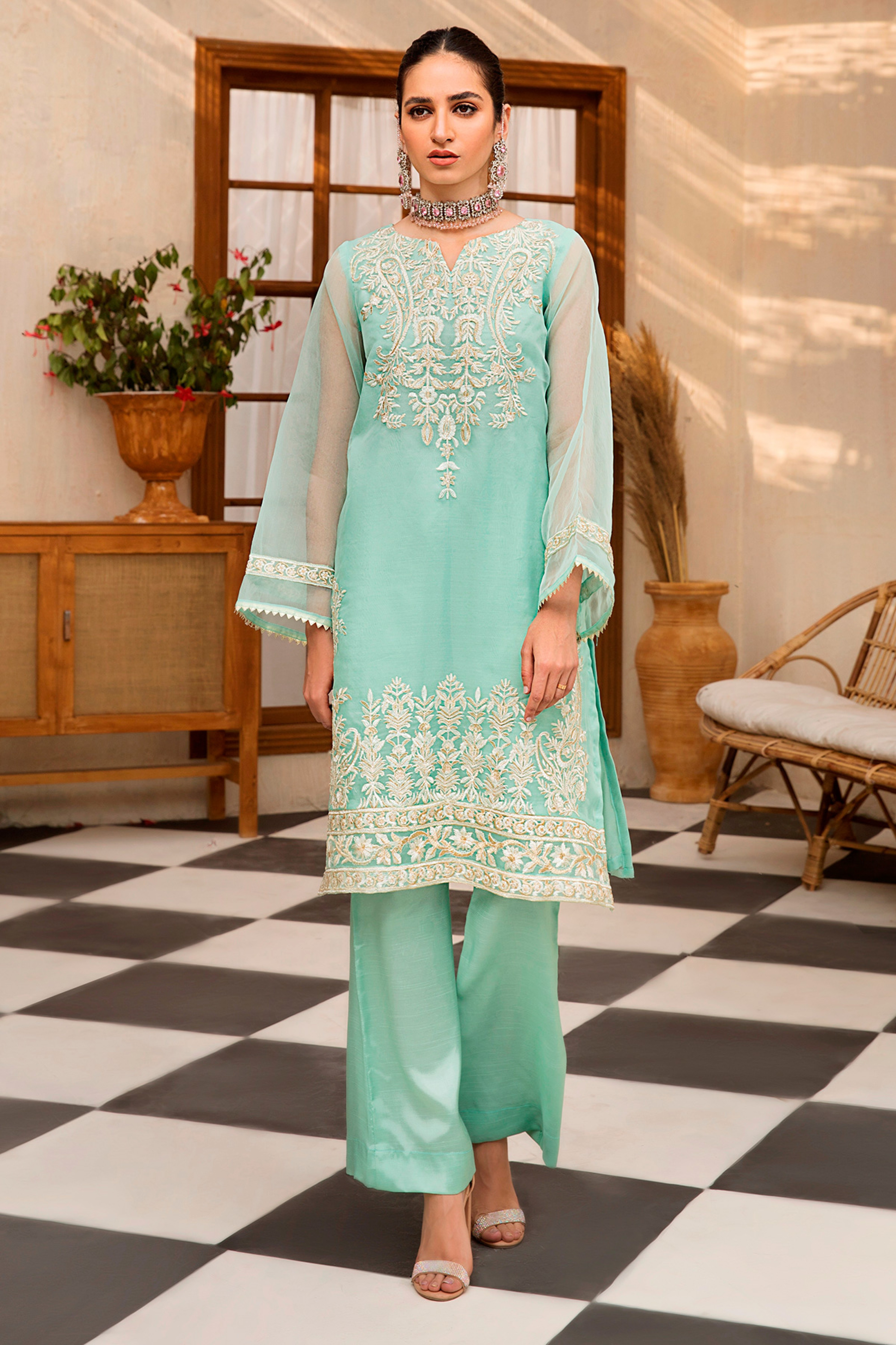 Carina(Embroidered Shirt & Trouser)