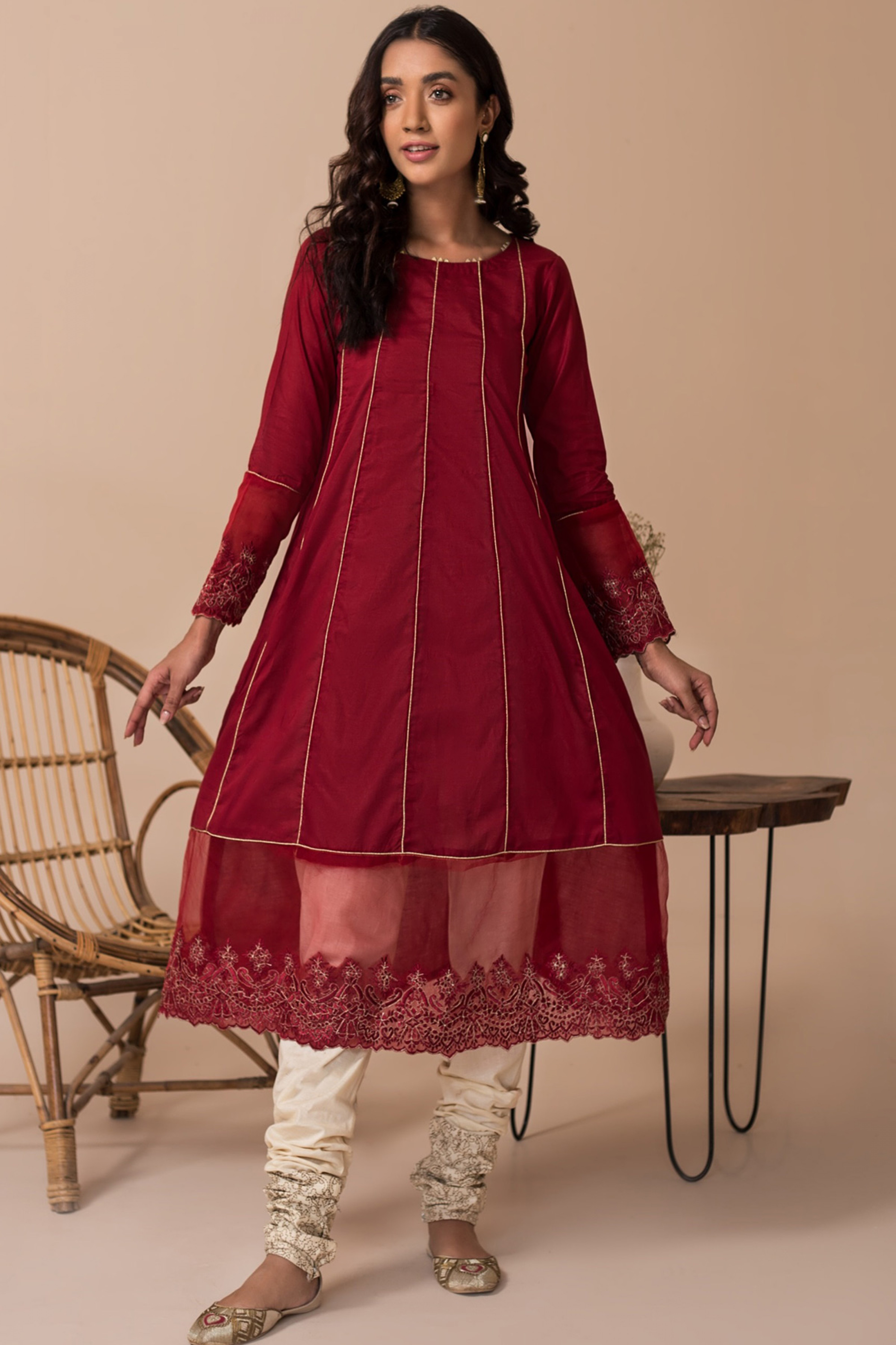 ROSA(Embroidered A Line Frock)