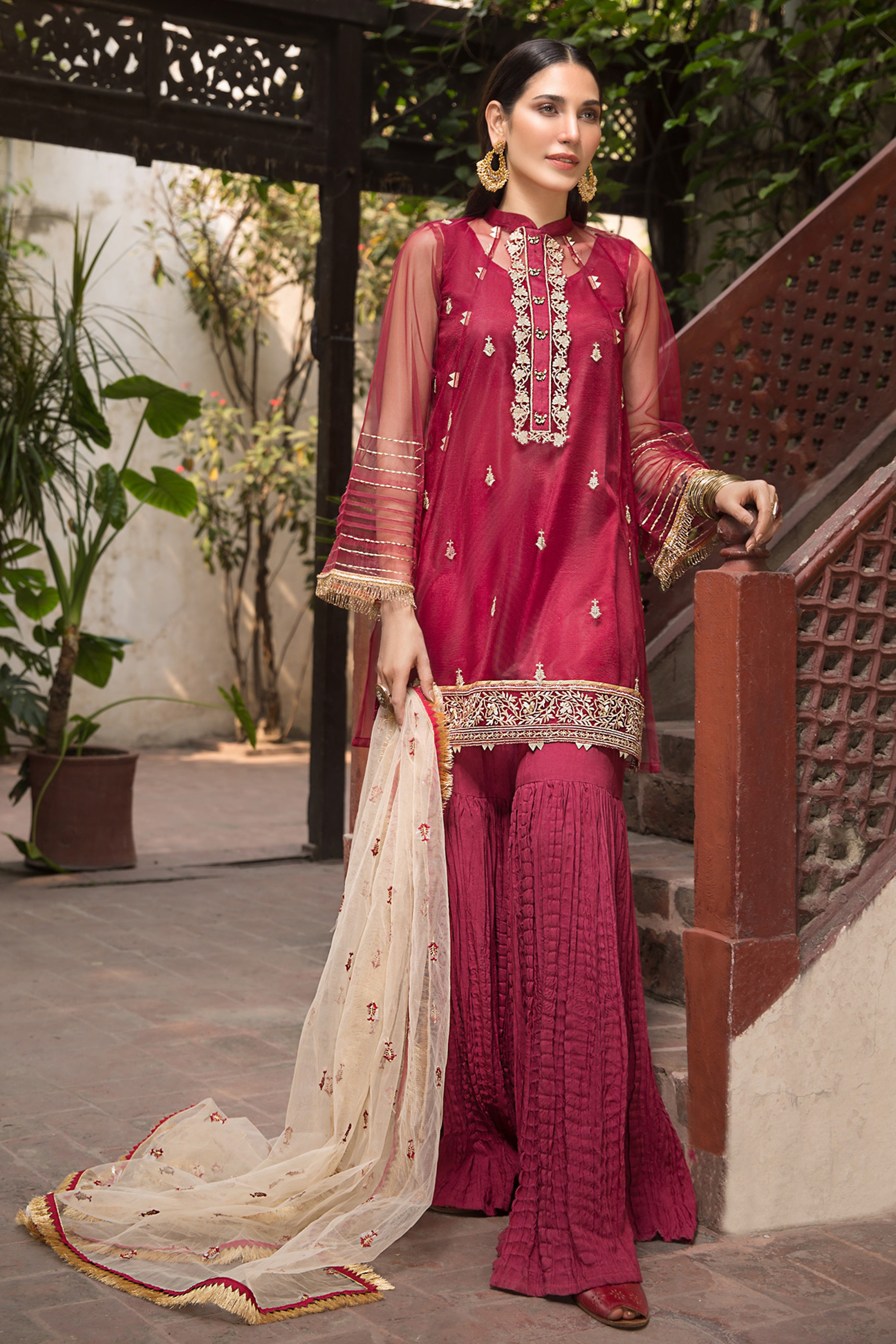 CASHMERE ROSE(EMBROIDERED SHIRT & DUPATTA)
